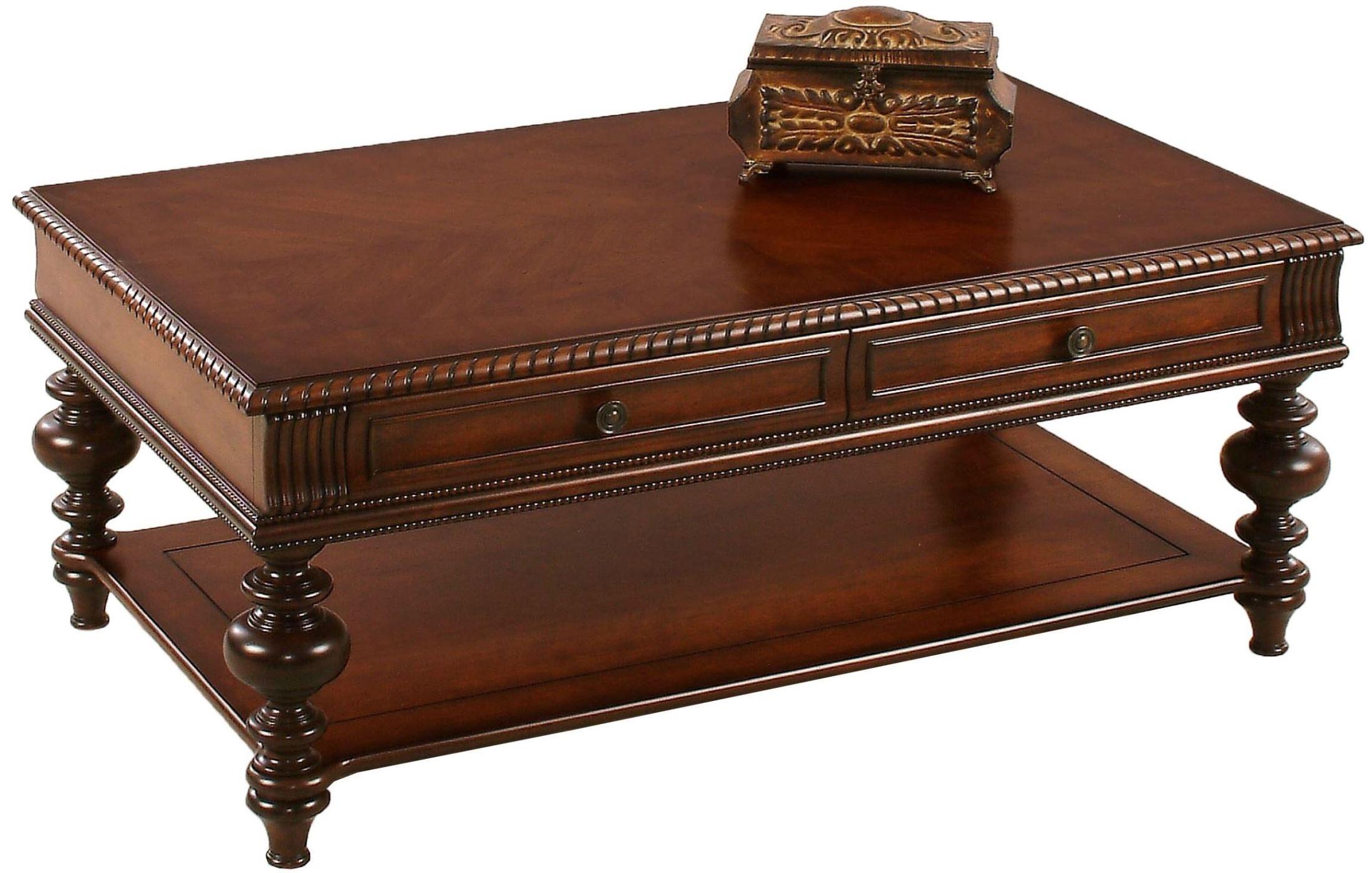 Mountain manor heritage cherry rectangular cocktail table for Rectangular cherry coffee table