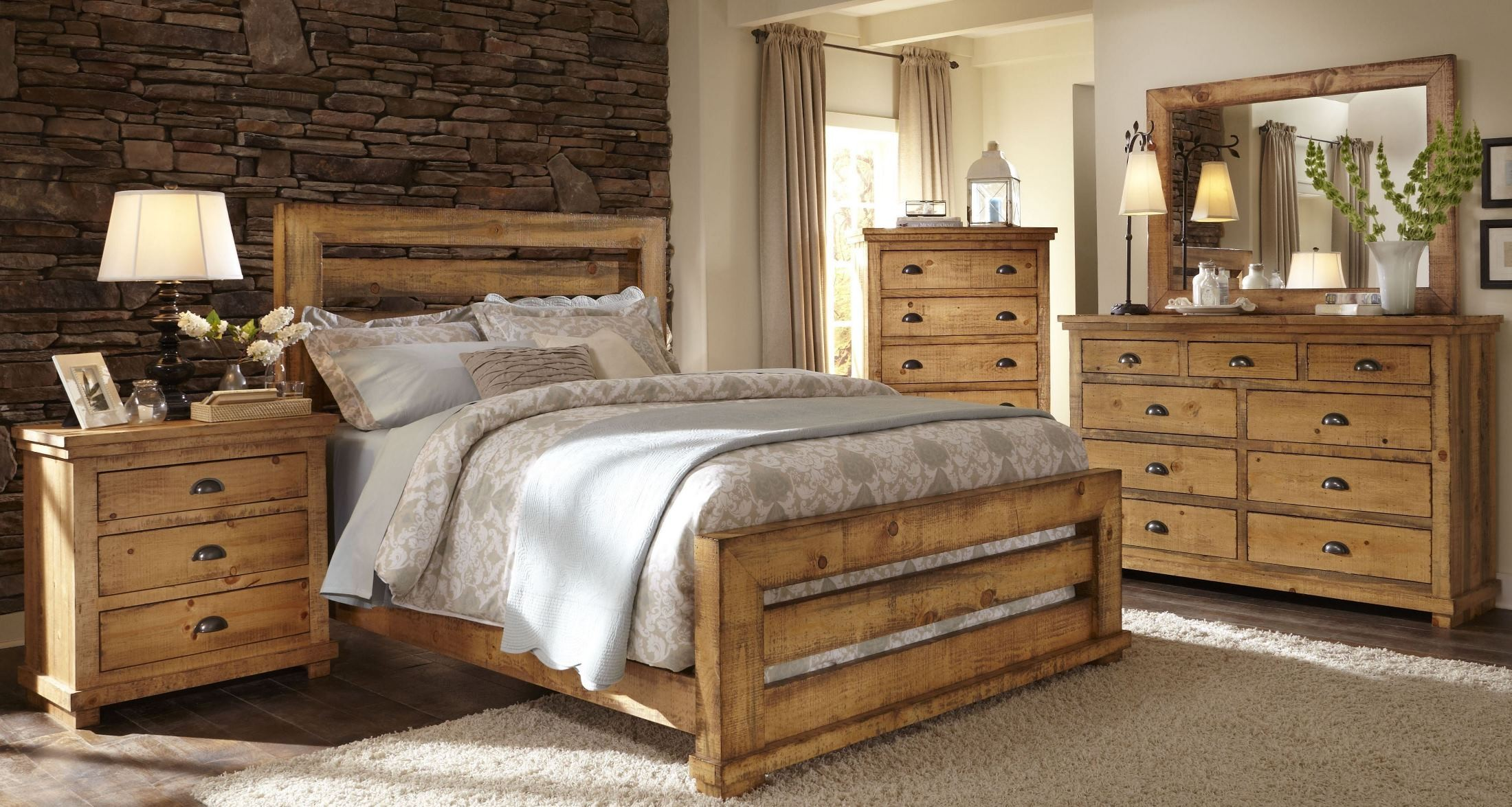 Willow distressed pine slat bedroom set from progressive for Pine bedroom furniture