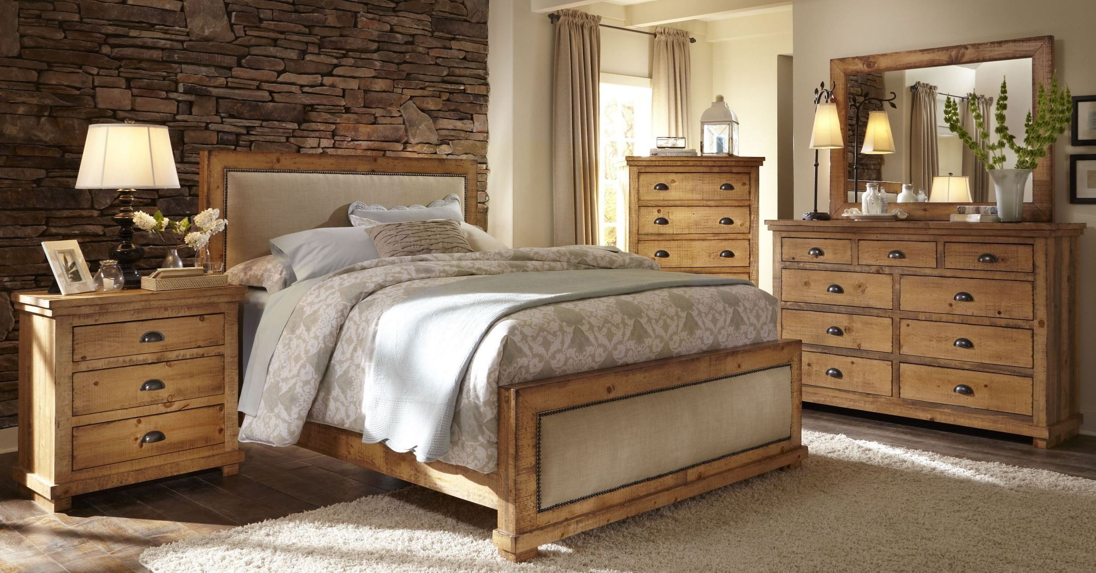 Willow distressed pine upholstered bedroom set from for Pine bedroom furniture