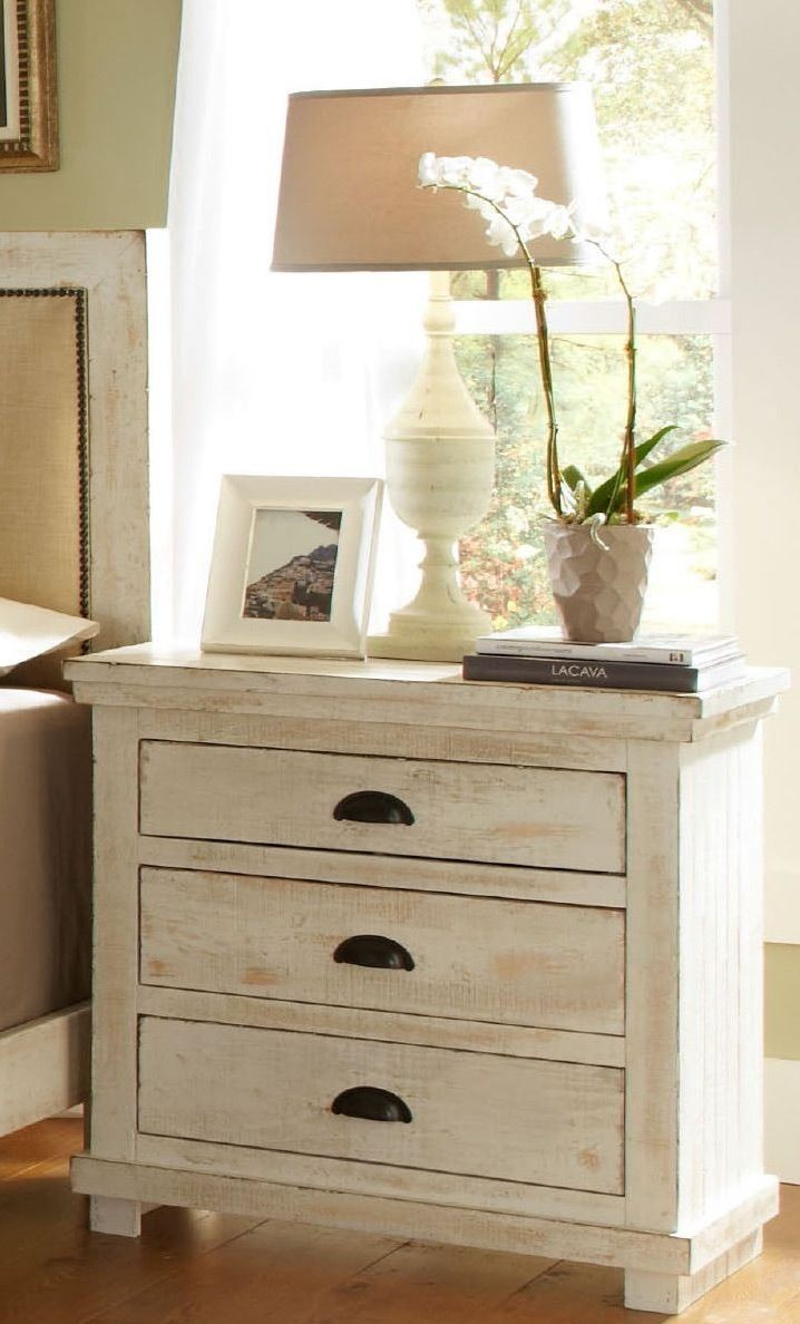 Willow distressed white slat bedroom set from progressive - Distressed bedroom furniture sets ...
