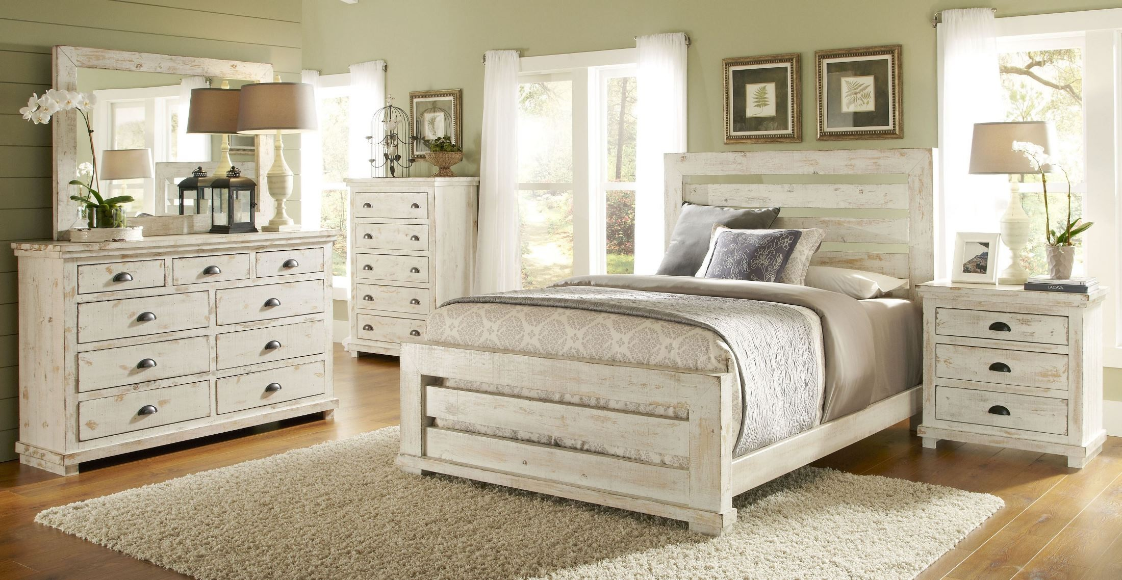 willow distressed white slat bedroom set p610606178