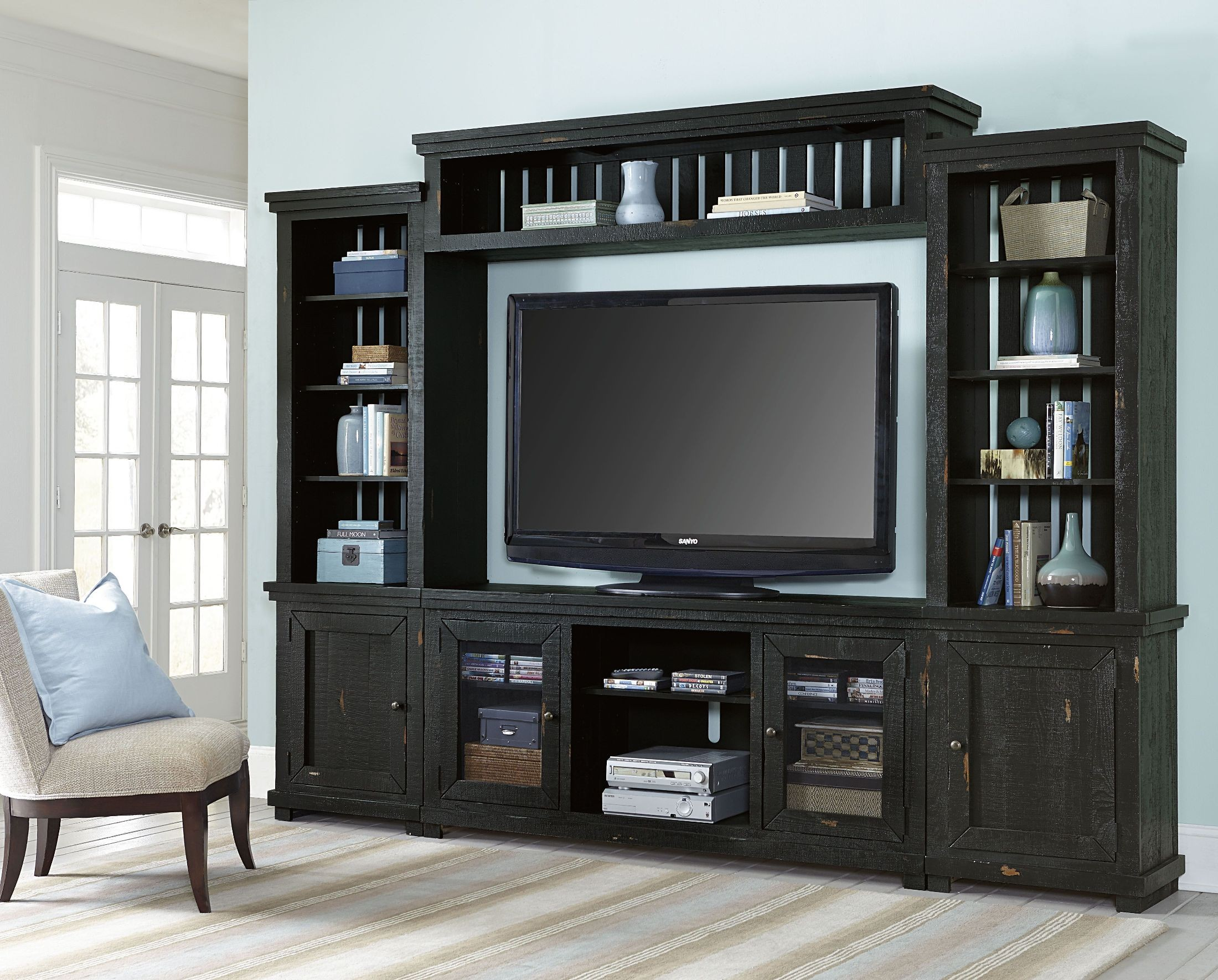 Willow Distressed Black Entertainment Wall From