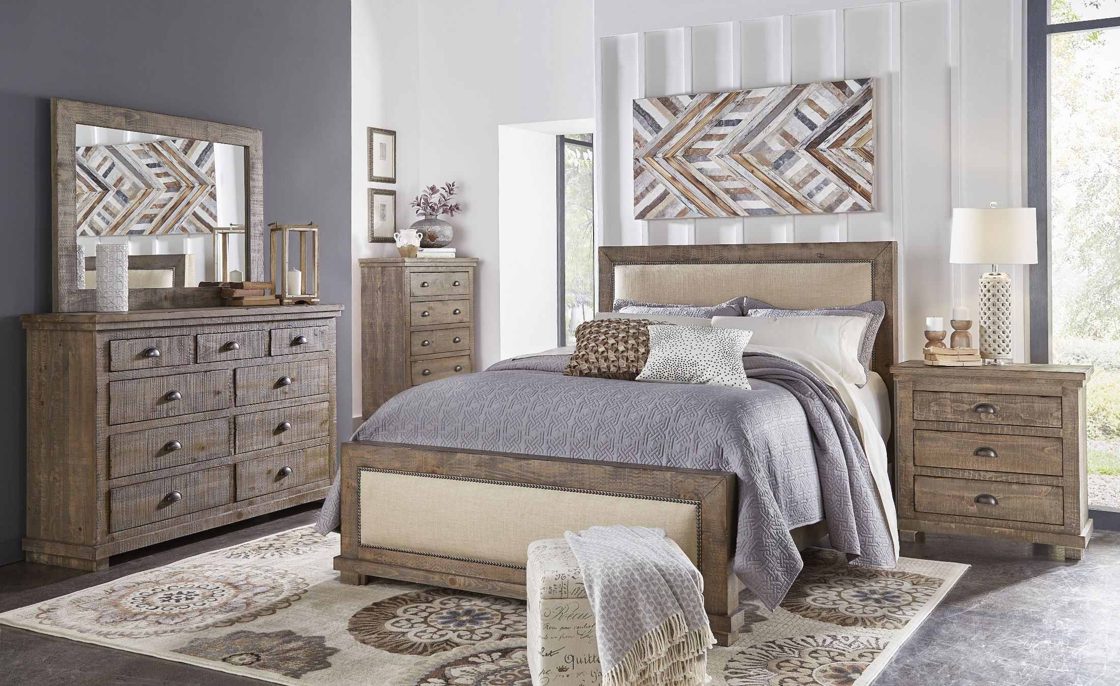Willow Weathered Gray Upholstered Bedroom Set From