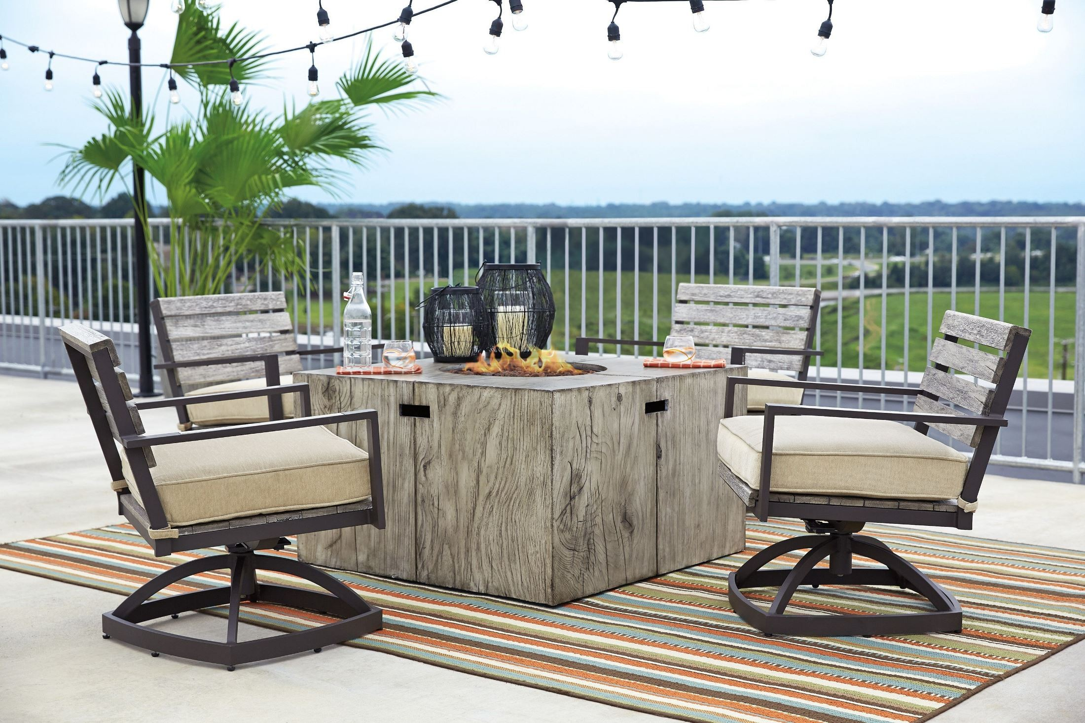 Peachstone beige and brown square fire pit outdoor dining