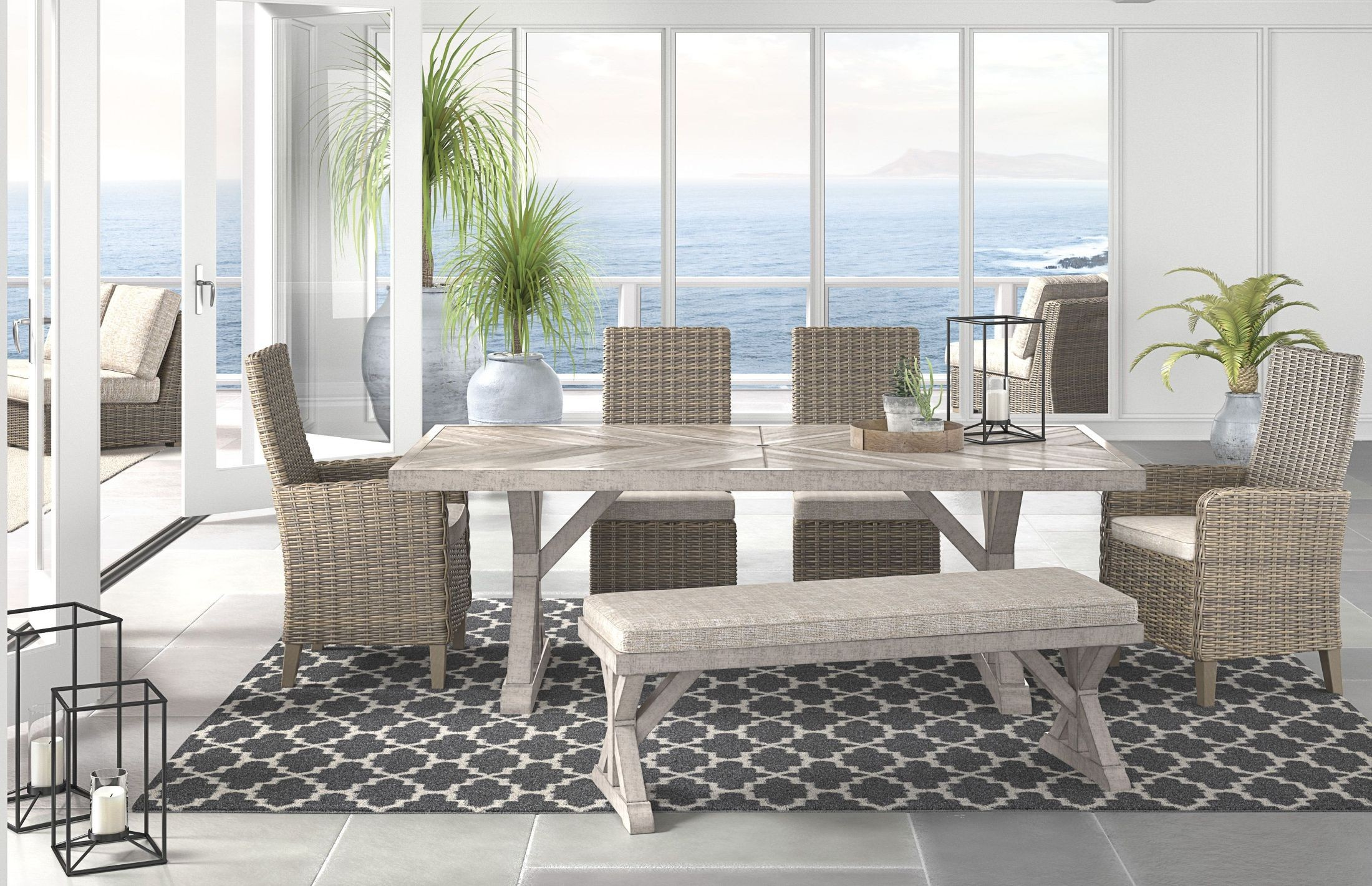 Beachcroft Beige Rectangular Dining Table From Ashley | Coleman Furniture