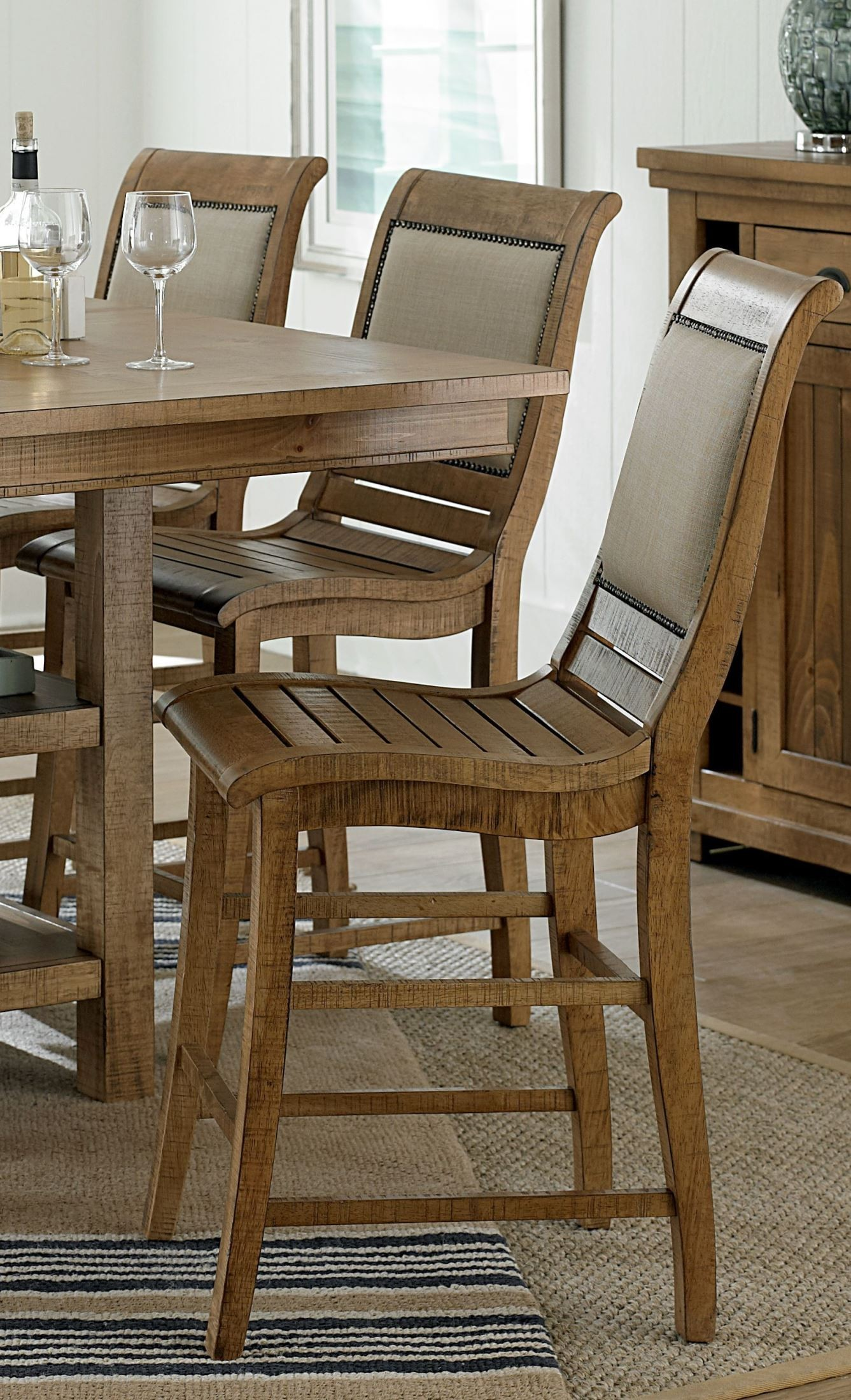 Willow Distressed Pine Counter Height Dining Room Set From