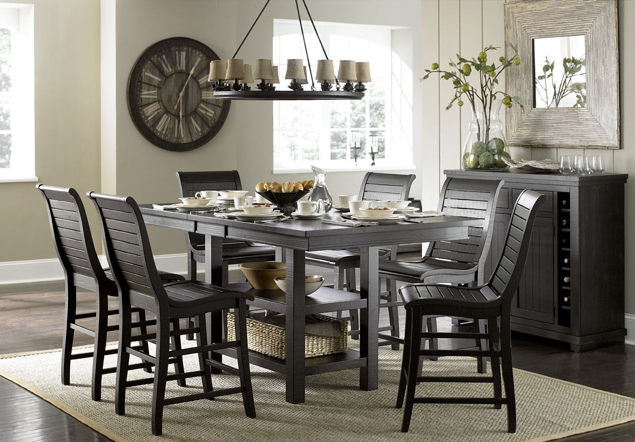 Willow Distressed Black Rectangular Counter Height Dining