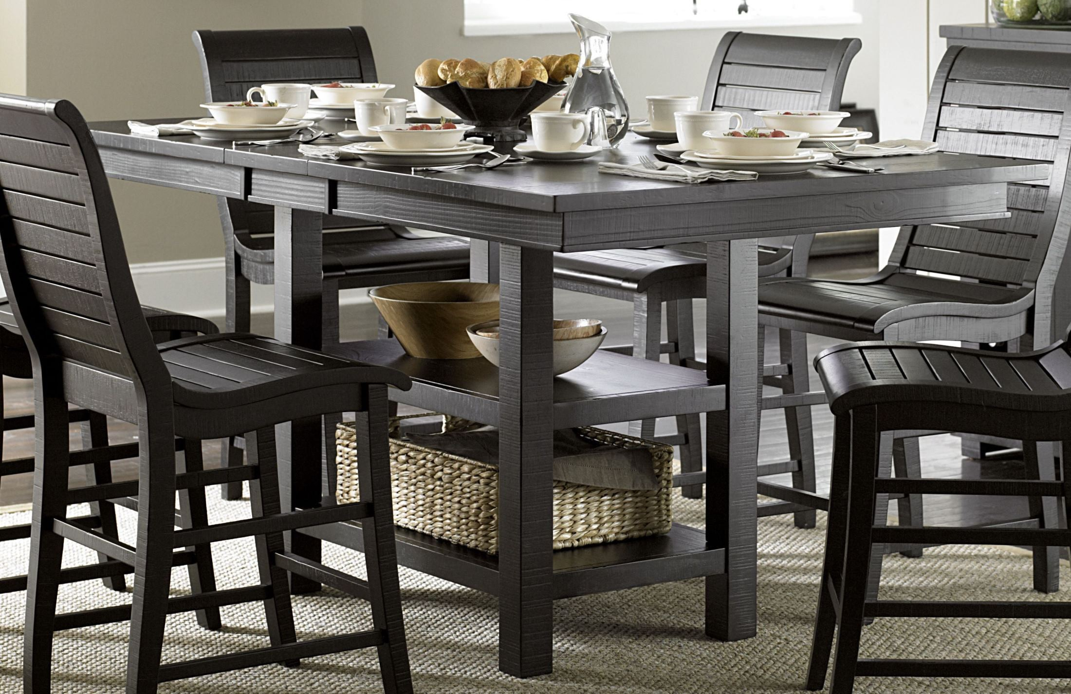 Counter Height Dining Tables: Willow Distressed Black Rectangular Counter Height Dining