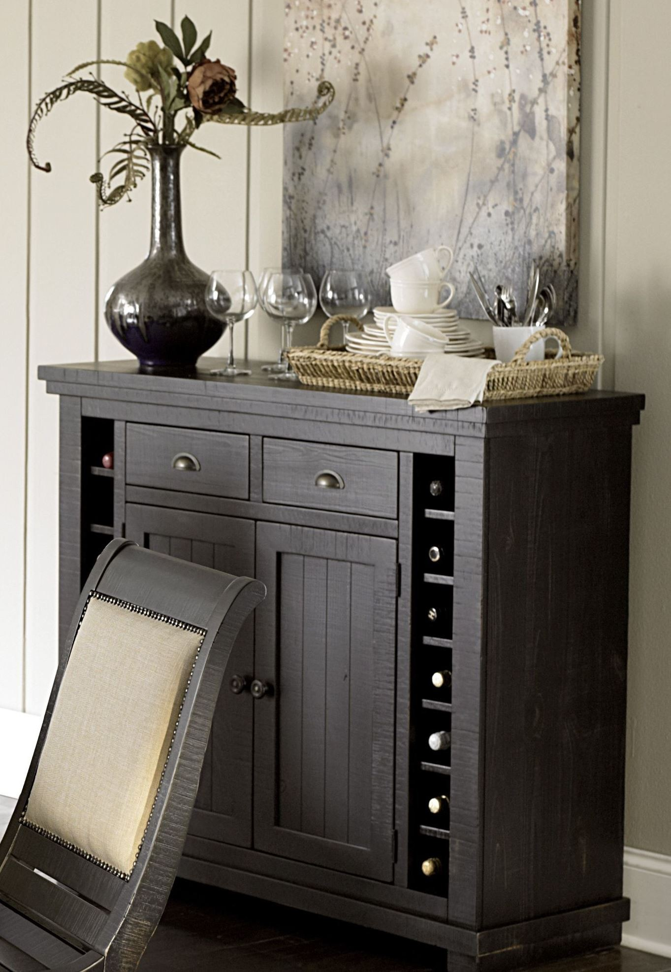Willow Distressed White Slat Bedroom Set: Willow Distressed Black Rectangular Counter Height Dining