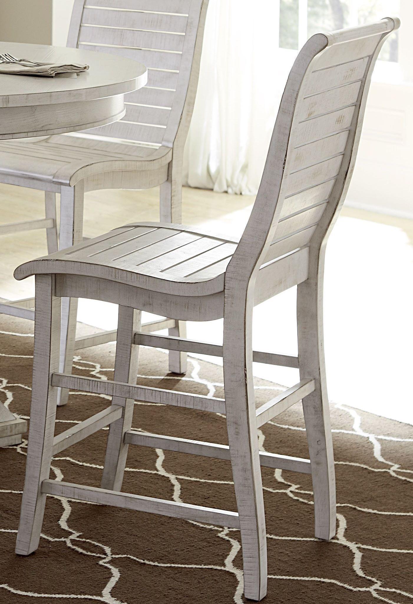 Willow Distressed White Slat Bedroom Set: Willow Distressed White Counter Chair Set Of 2 From