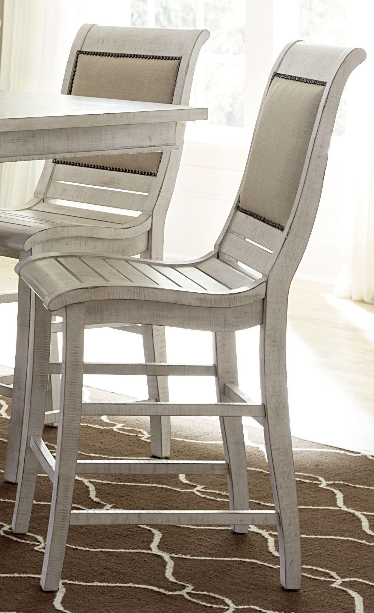 Willow Distressed White Slat Bedroom Set: Willow Distressed White Counter Upholstered Chair Set Of 2