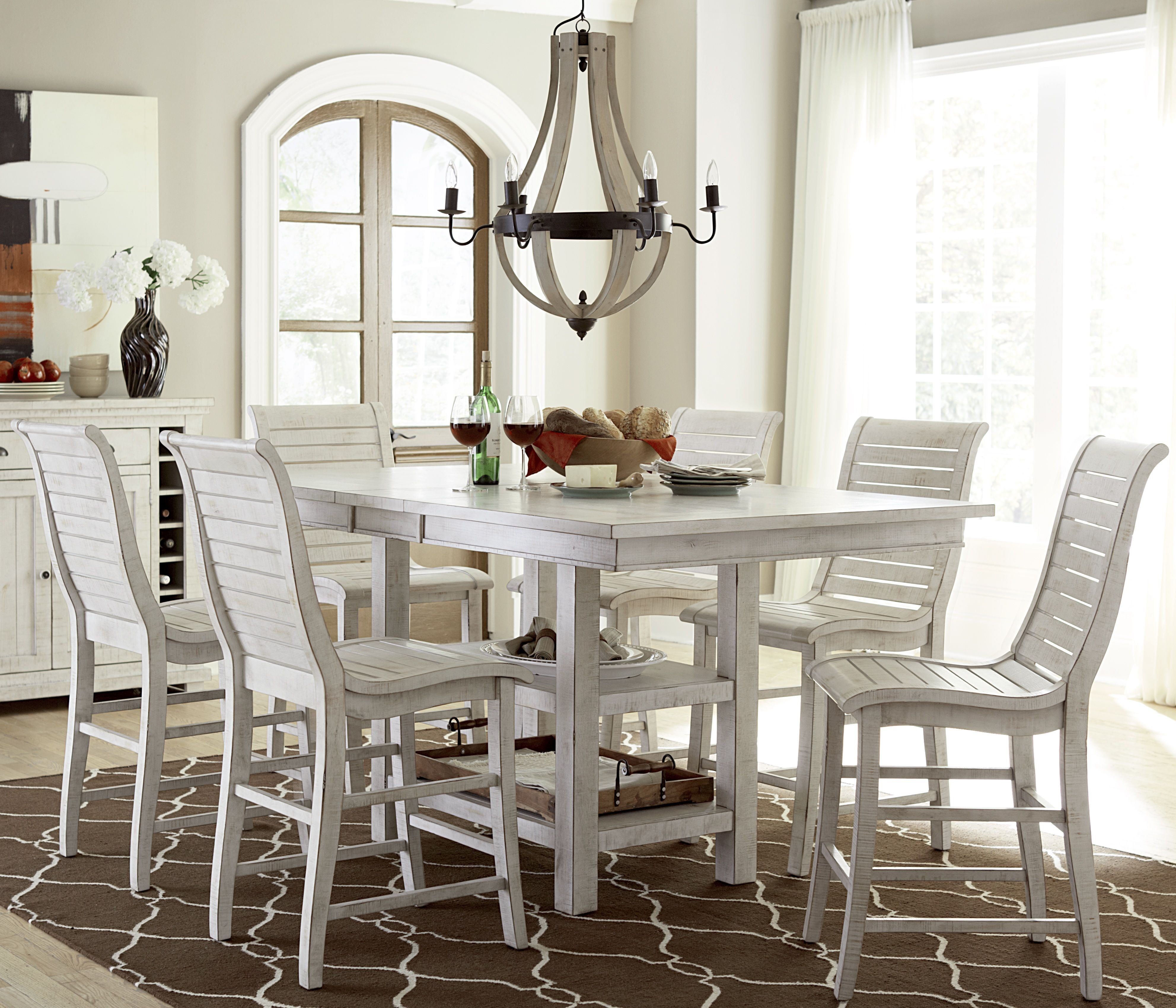distressed white dining room furniture | Willow Distressed White Rectangular Counter Height Dining ...
