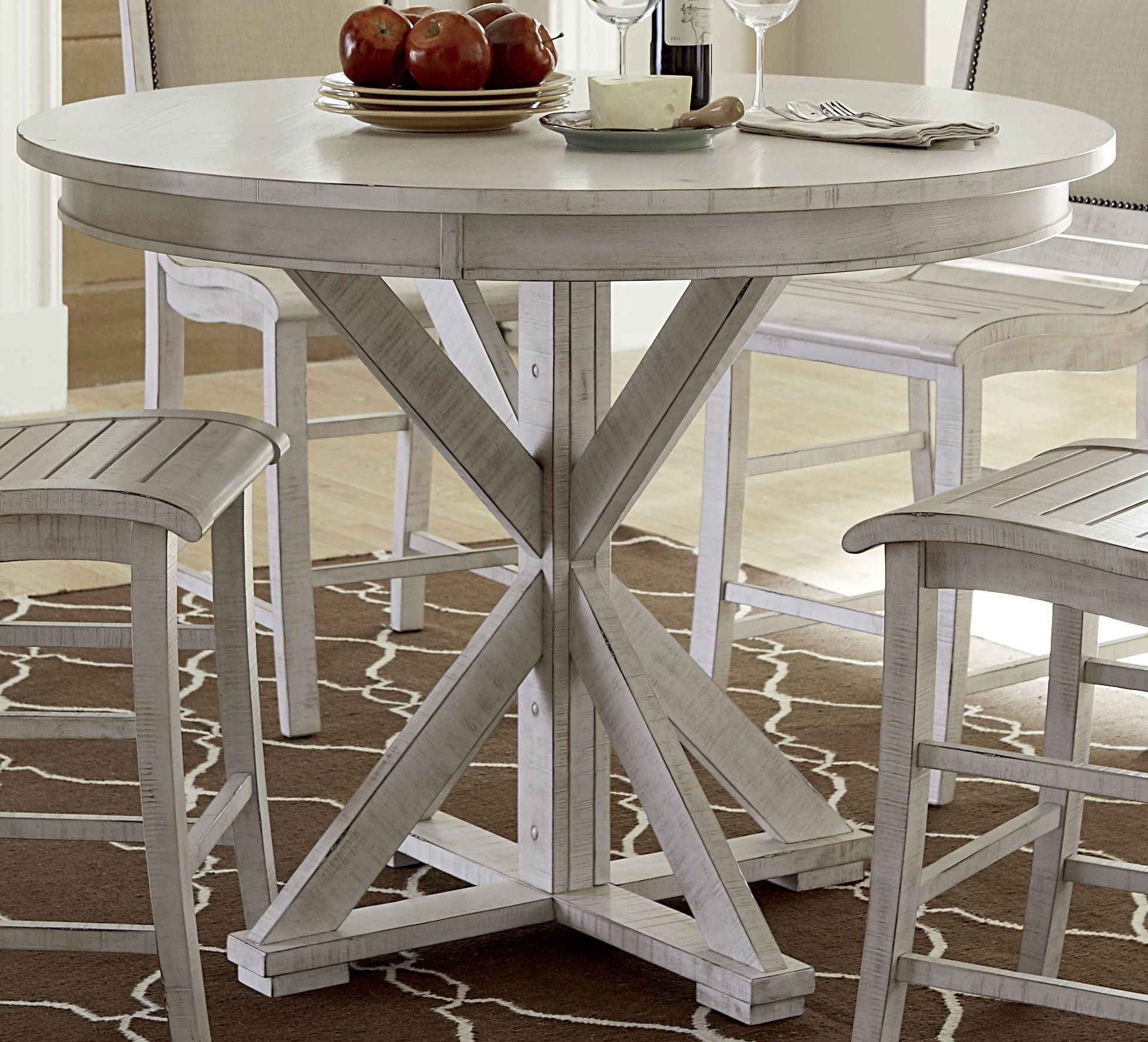 Willow distressed white round counter height dining table for Distressed white dining table