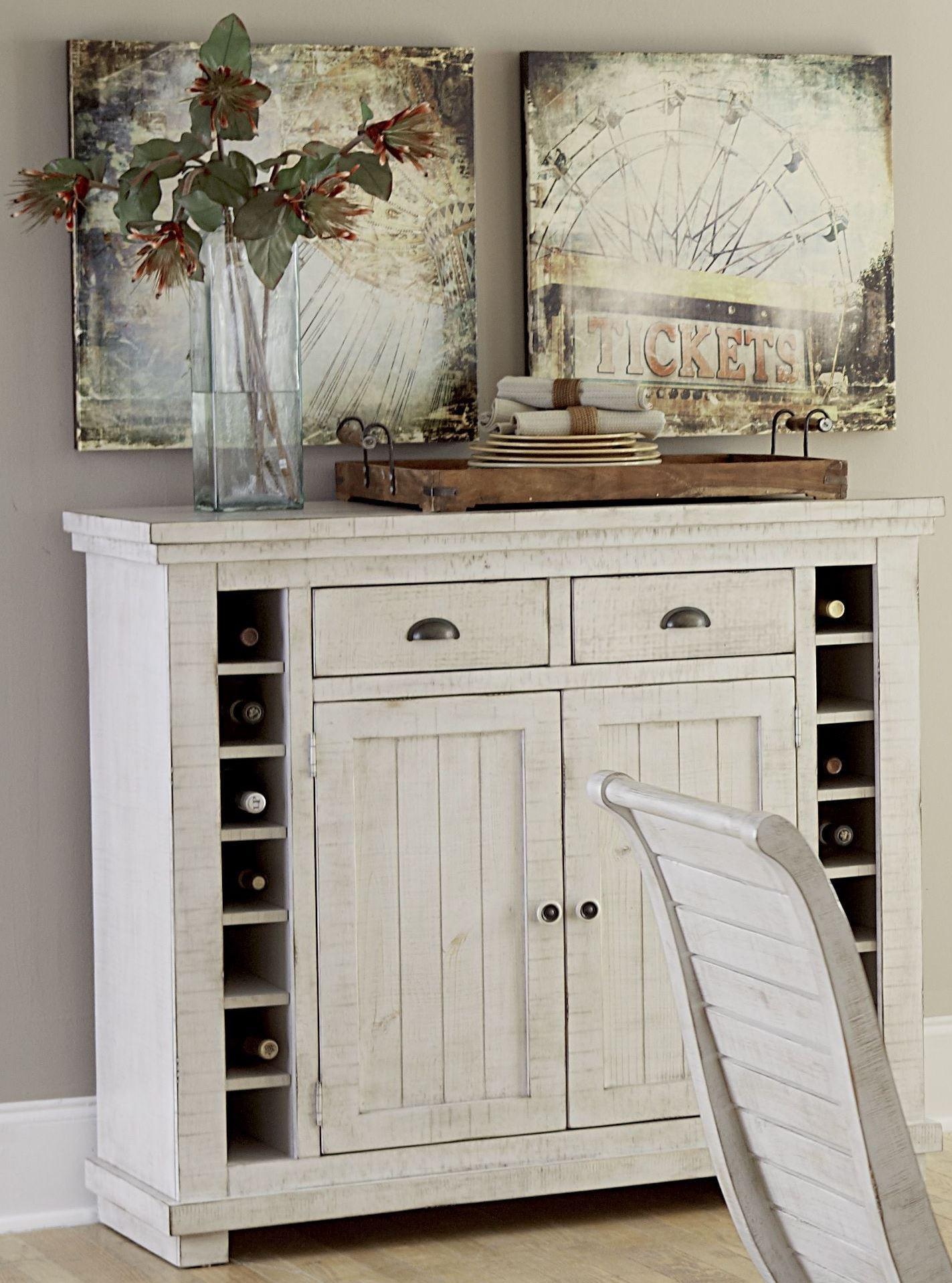 Willow Distressed White Slat Bedroom Set: Willow Distressed White Server From Progressive Furniture
