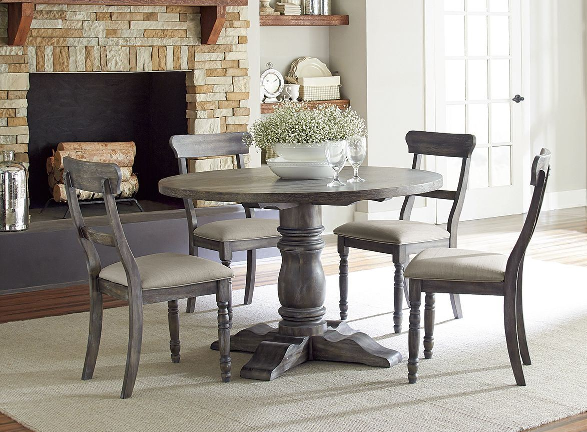 Muses dove grey muses round dining room set from for Dining room sets with round tables