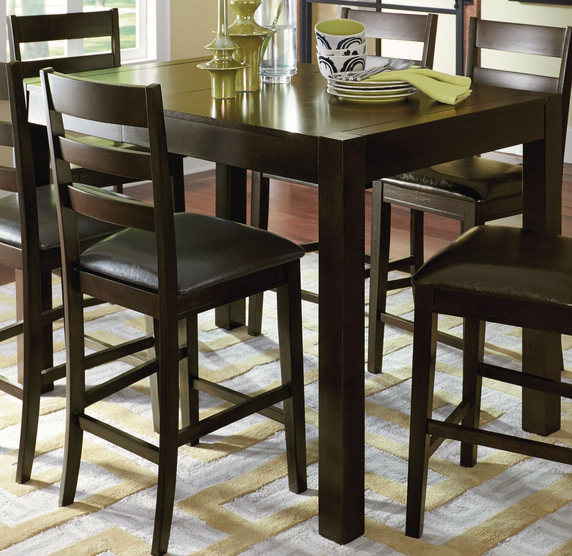 Amini Espresso Butterfly Counter Height Dining Room Set