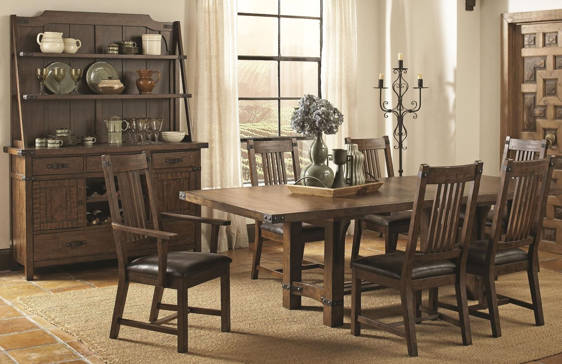 Padima Rustic Rough-Sawn Rectangular Extendable Dining ...