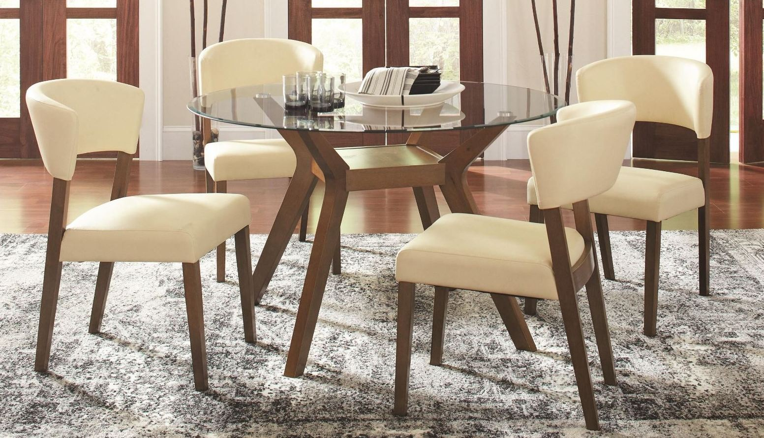 Paxton Round Glass Dining Room Set From Coaster 122180