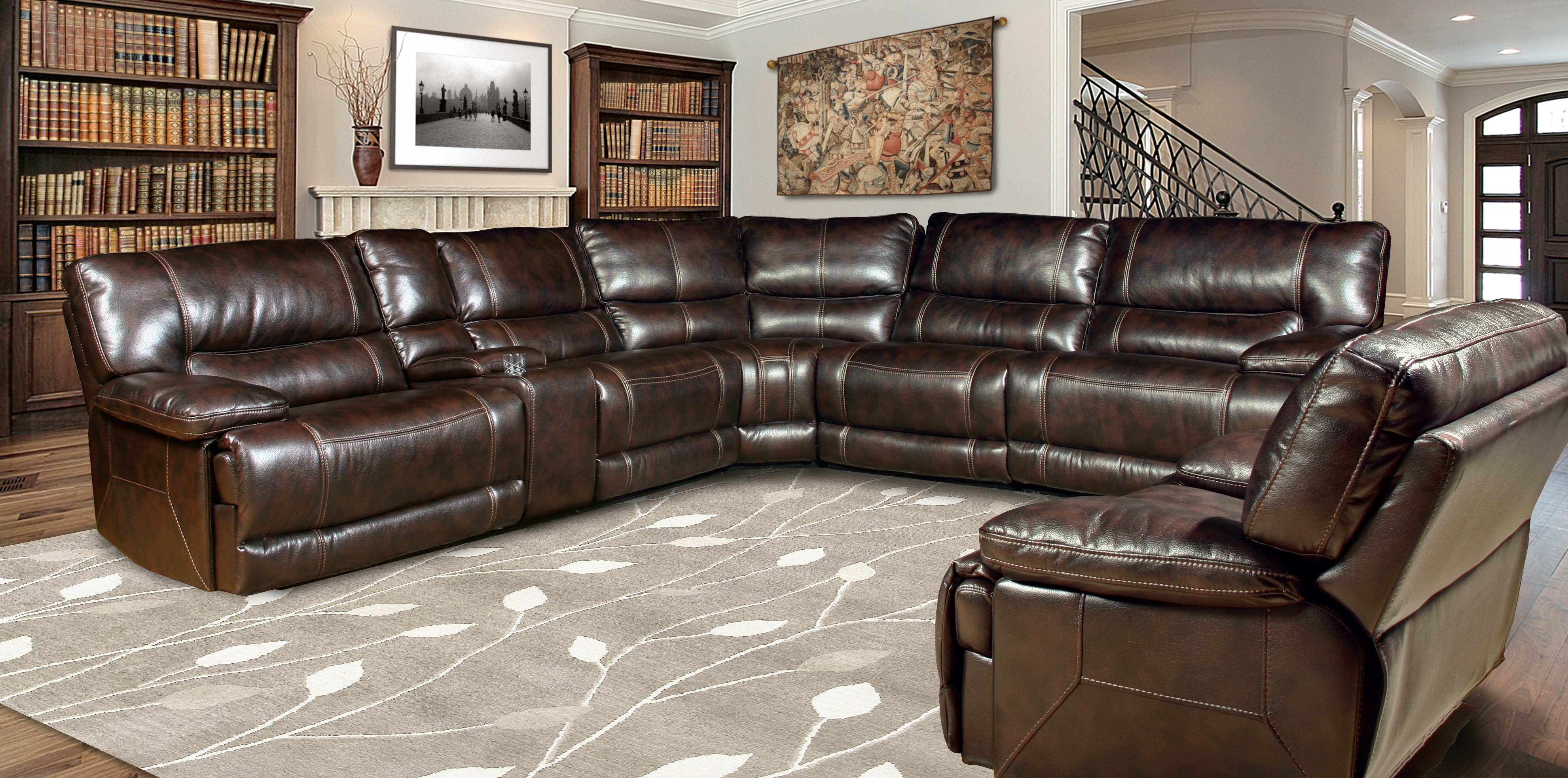 sectionals reclining sectional benchcraft shown as colors series leather chocolate open add