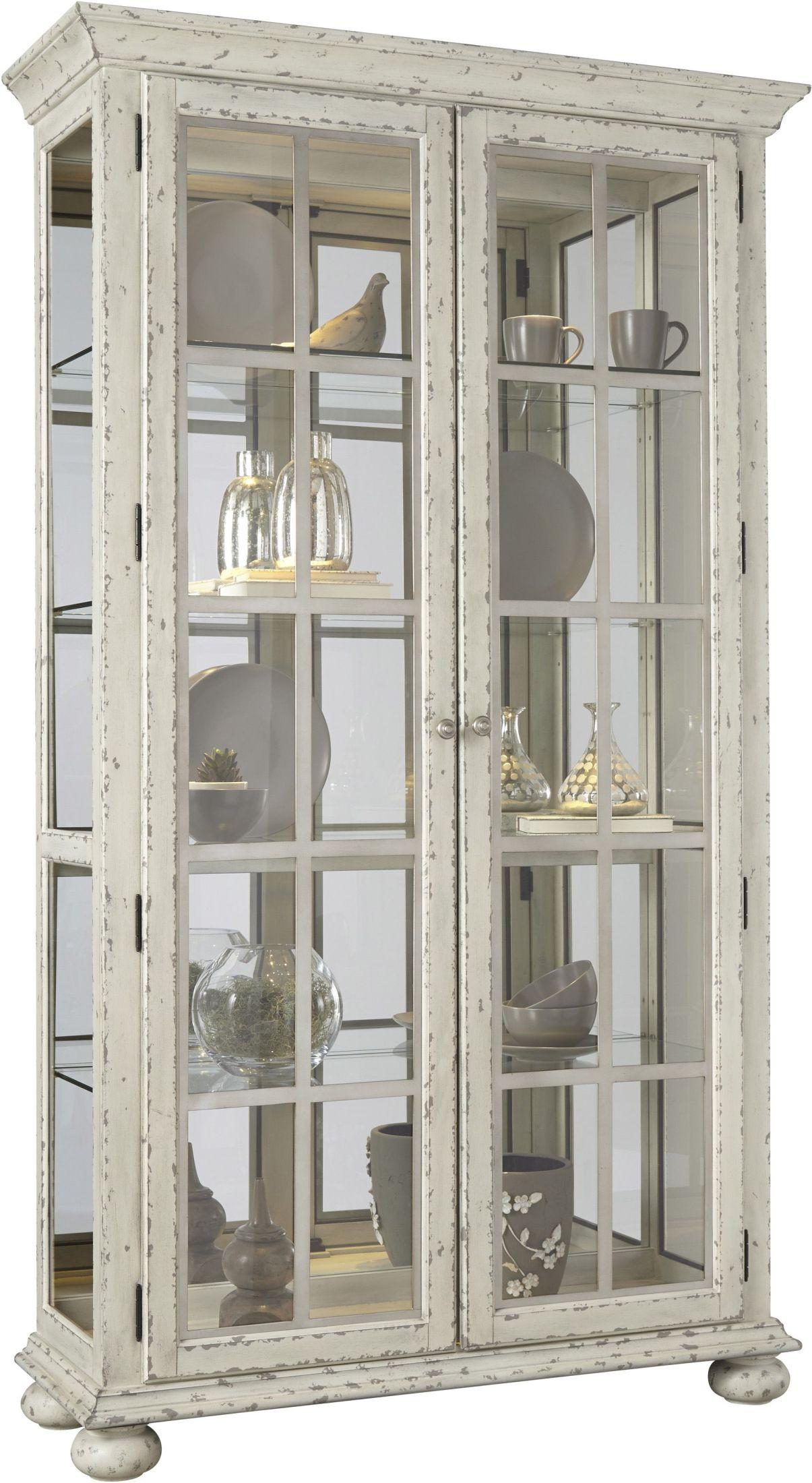 cream 2 door mirror back curio from pulaski coleman furniture. Black Bedroom Furniture Sets. Home Design Ideas