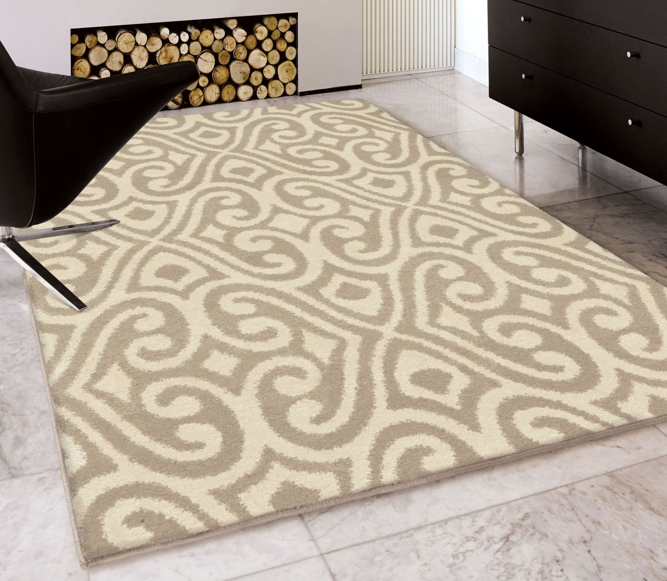 Orian Rugs Plush Damask Santee Tan Area Large Rug, 3409