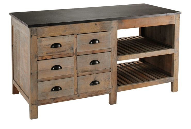 Portero Recycled Pine Kitchen Island From Brownstone