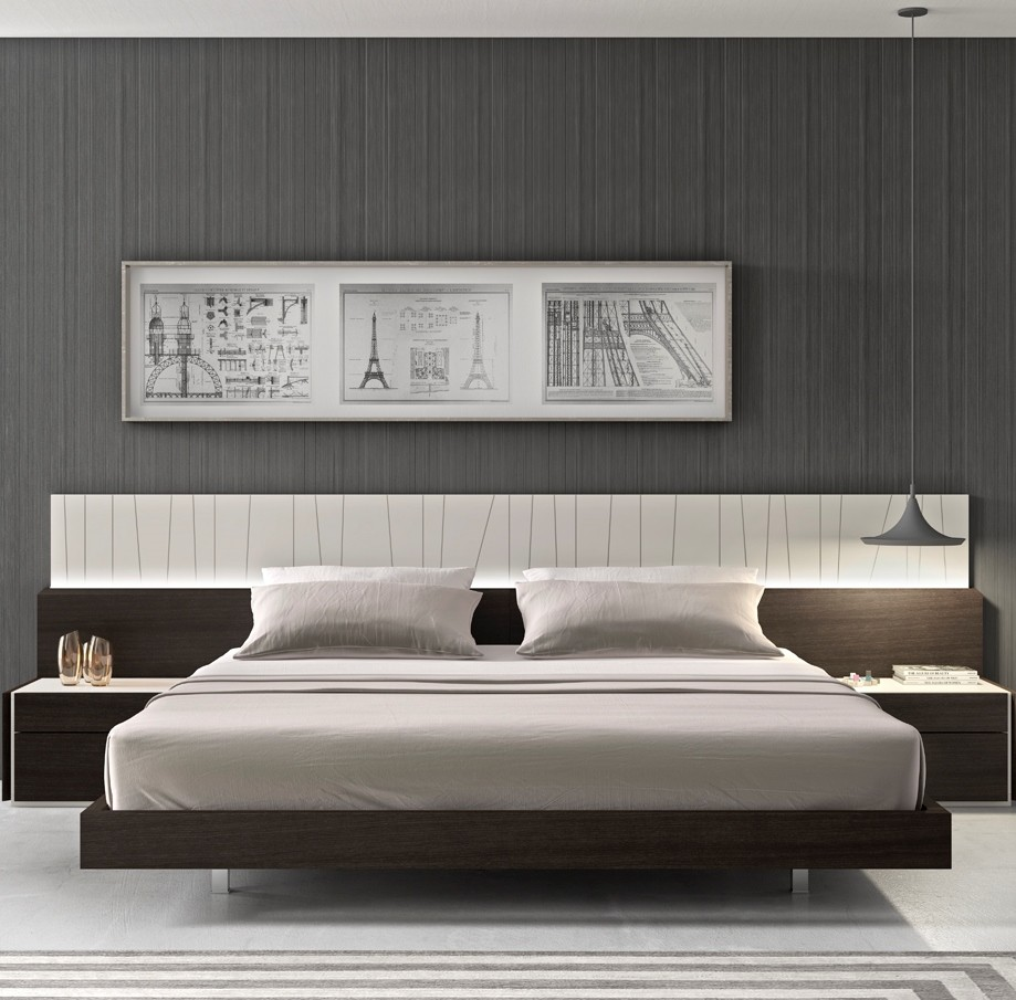 Lacquer Bedroom Furniture: Porto Natural Light Grey Lacquer Platform Bedroom Set From