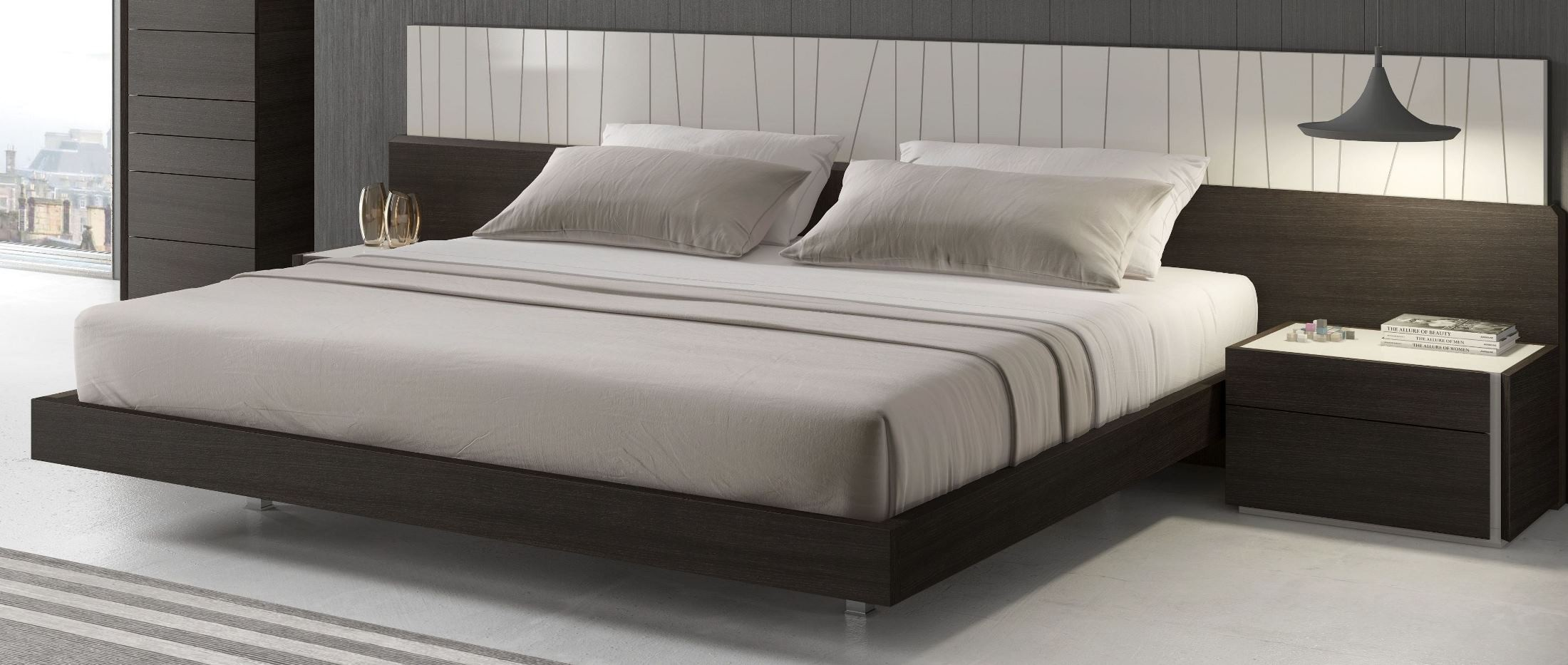 Porto Natural Light Grey Lacquer King Platform Bed from J ...