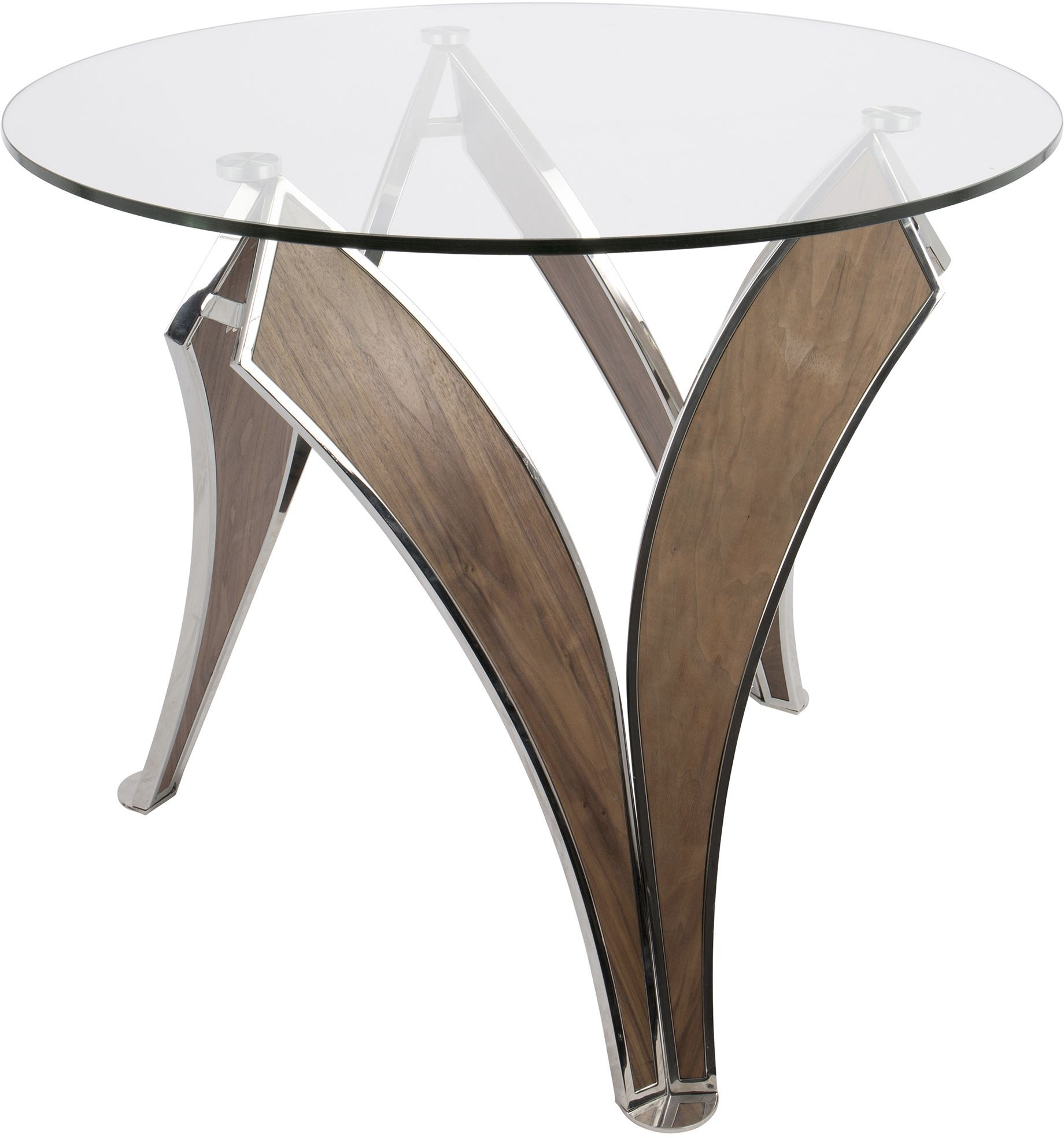 Prestige polished stainless steel and walnut dining table for Stainless steel dining table