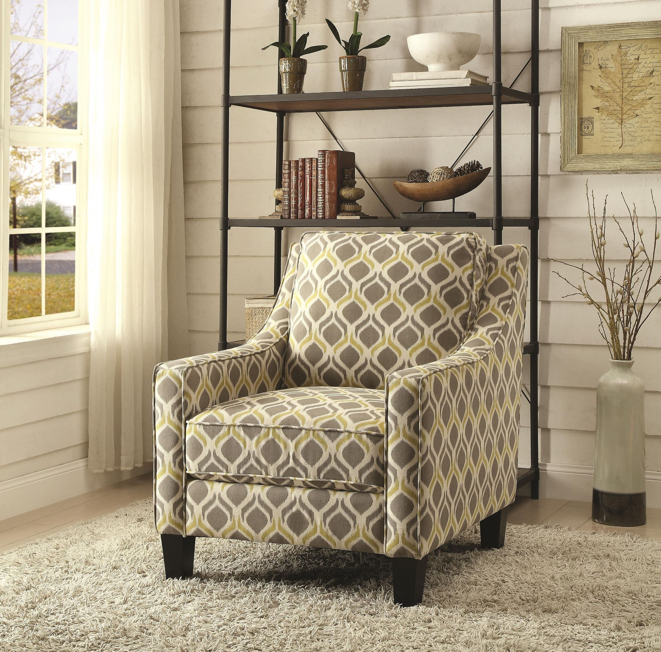 Grey And Yellow Pattern Accent Chair From Coaster (902428