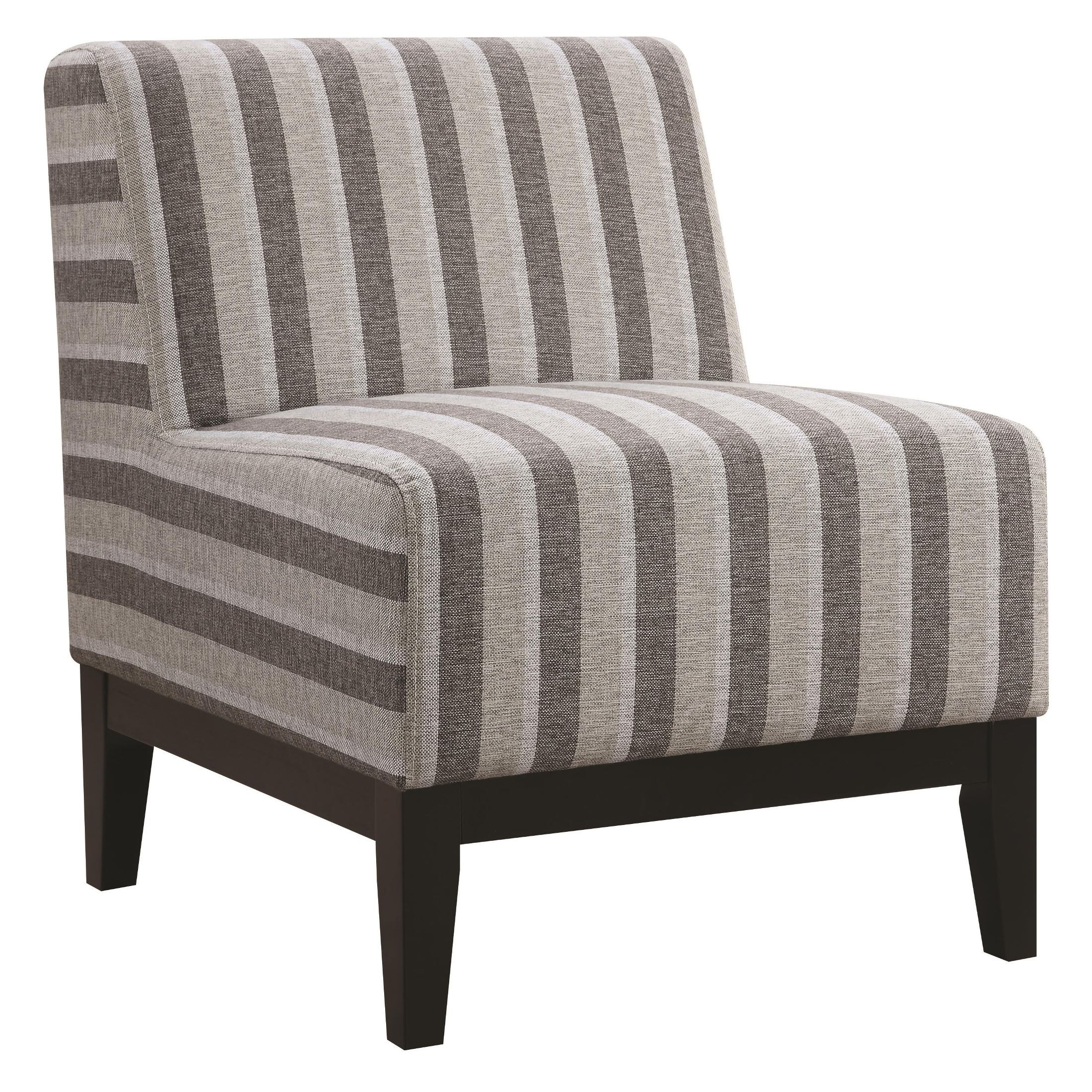 Thick Grey Striped Accent Chair From Coaster 902610