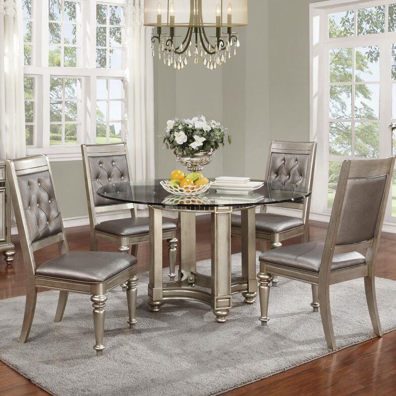 Round Dining Room Sets: Danette Metallic Platinum Round Dining Room Set, 106470