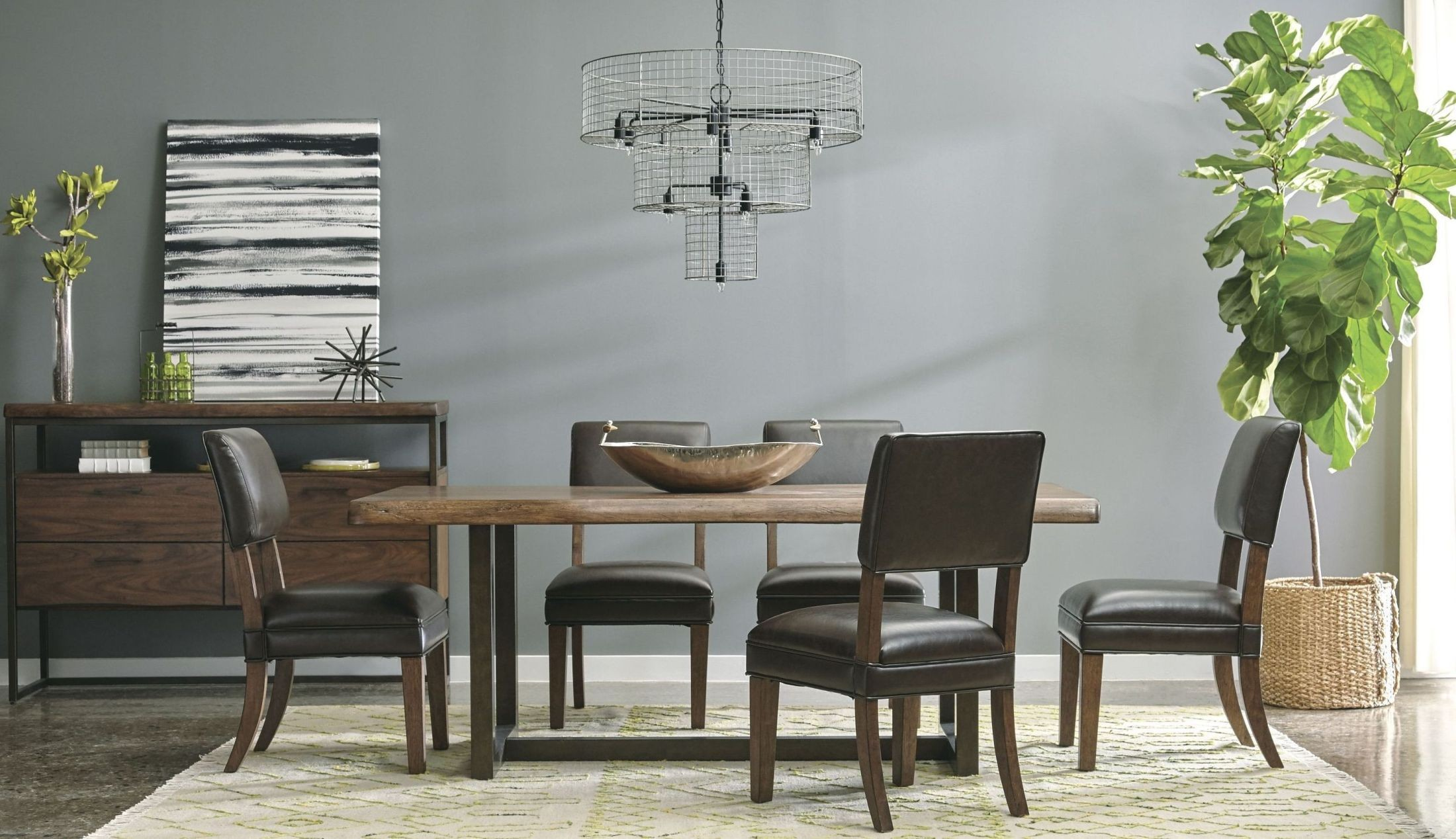 Lincoln park brown rectangular leg dining room set from for Brown dining room set
