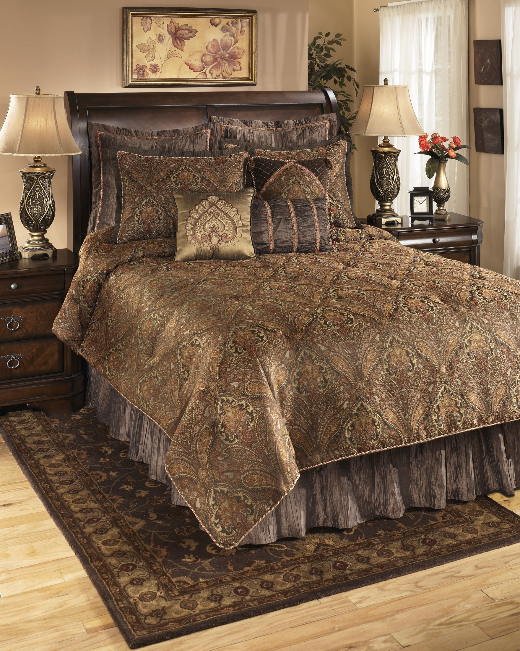 Bellingham moroccan queen bedding set q162005q ashley - King size bedroom sets for sale by owner ...