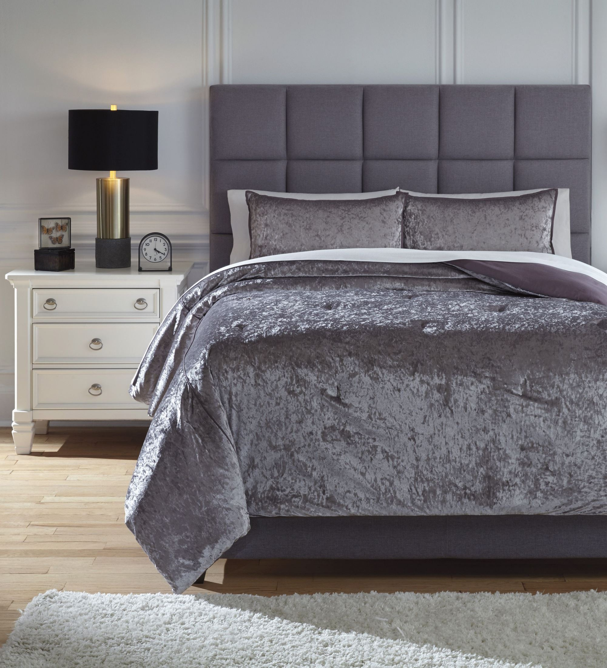 Gray Taupe And White Bedroom Curatins: Rosemaria Gray And Taupe King Comforter Set From Ashley