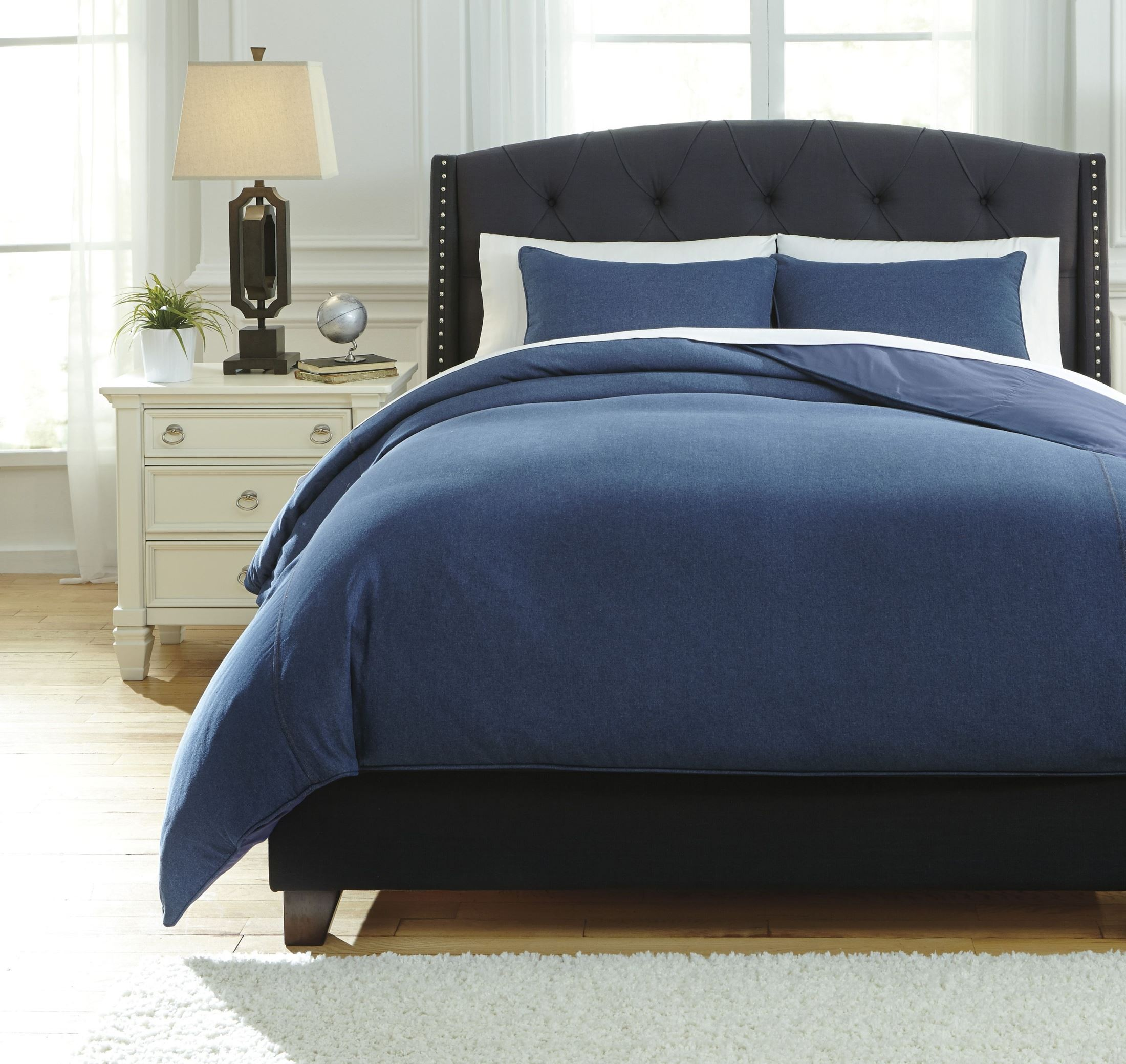 SUSYBAO 3 Pieces Duvet Cover Set % Natural Washed Cotton Denim Blue King Size 1 Duvet Cover 2 Pillowcases Luxury Quality Durable Ultra Soft Breathable Fade Resistant Bedding Set .