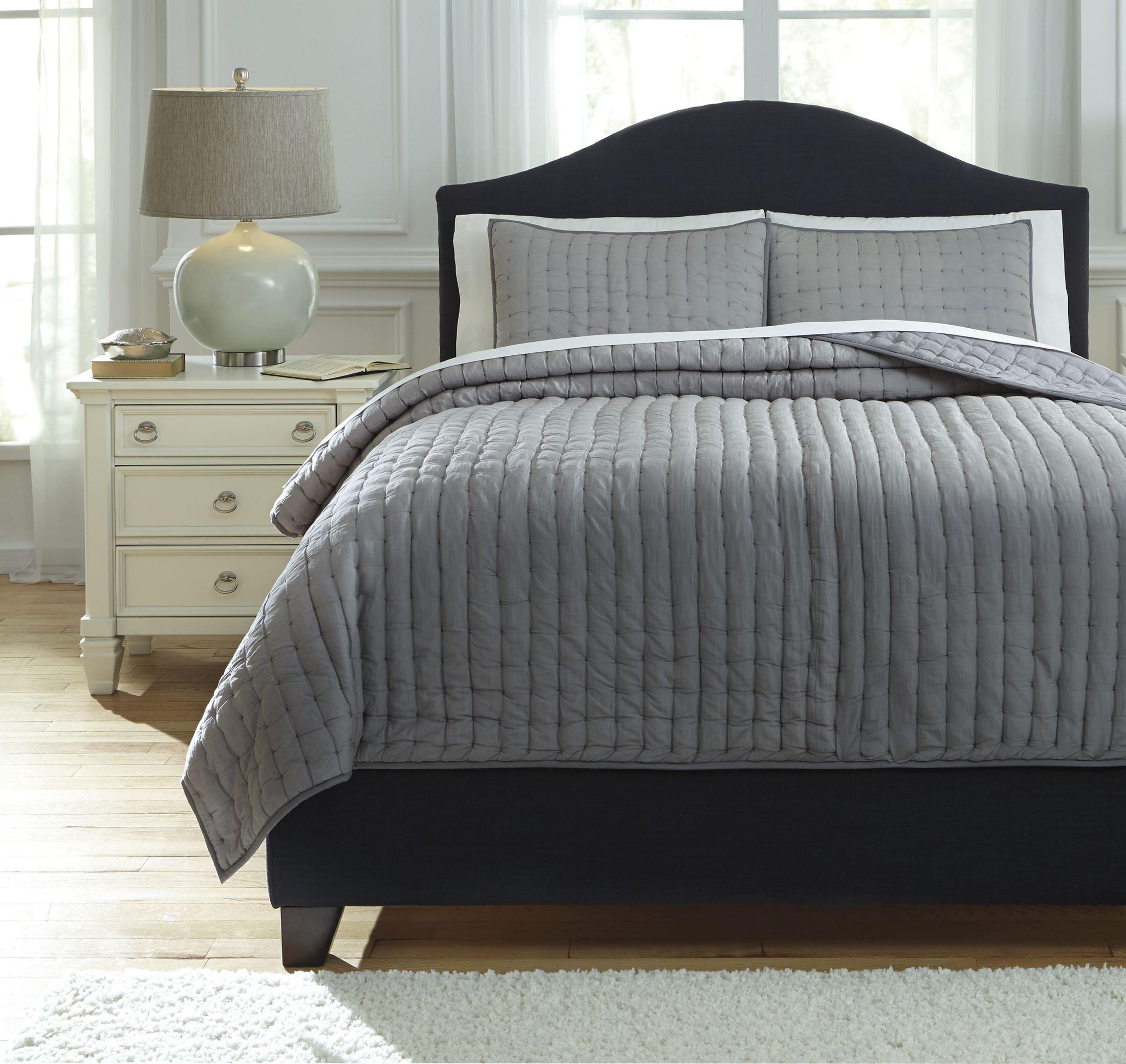 Gray Madeira Comforter Set : Teague gray queen comforter set from ashley q
