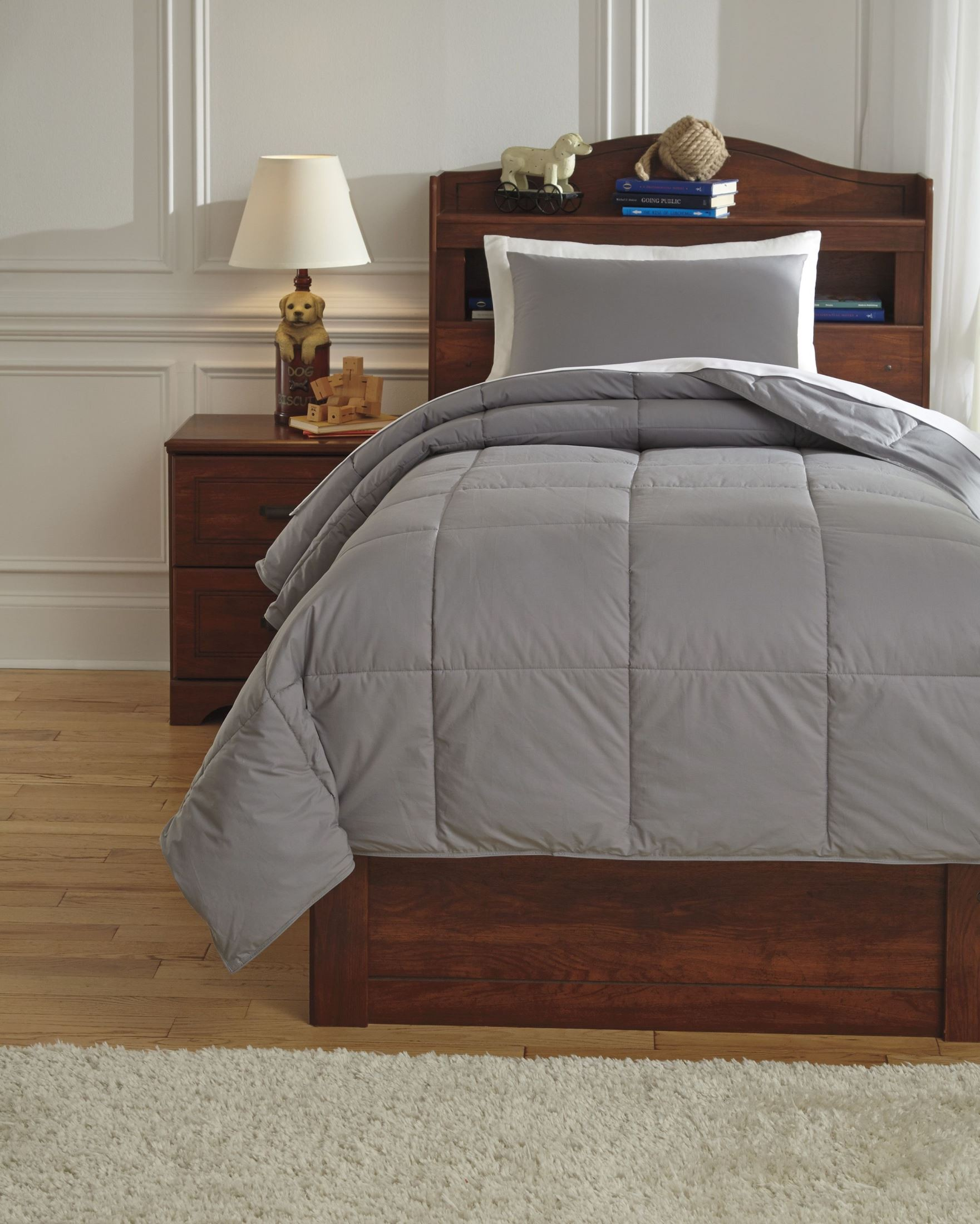 Gray Double Comforter : Plainfield gray twin comforter set from ashley q t