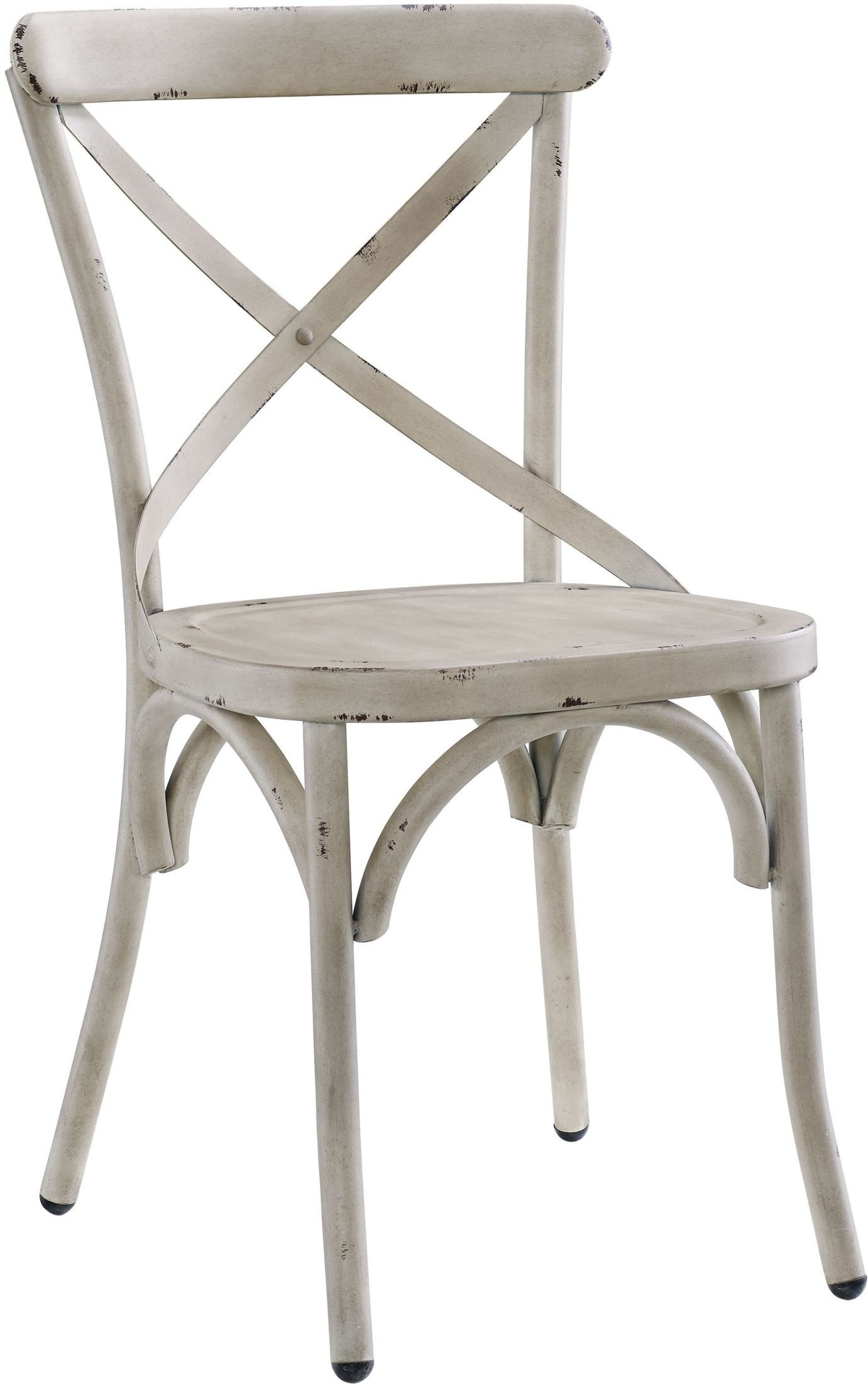 Antique White Dining Room Furniture: Distressed Antique White Metal Dining Chair Set Of 2 From