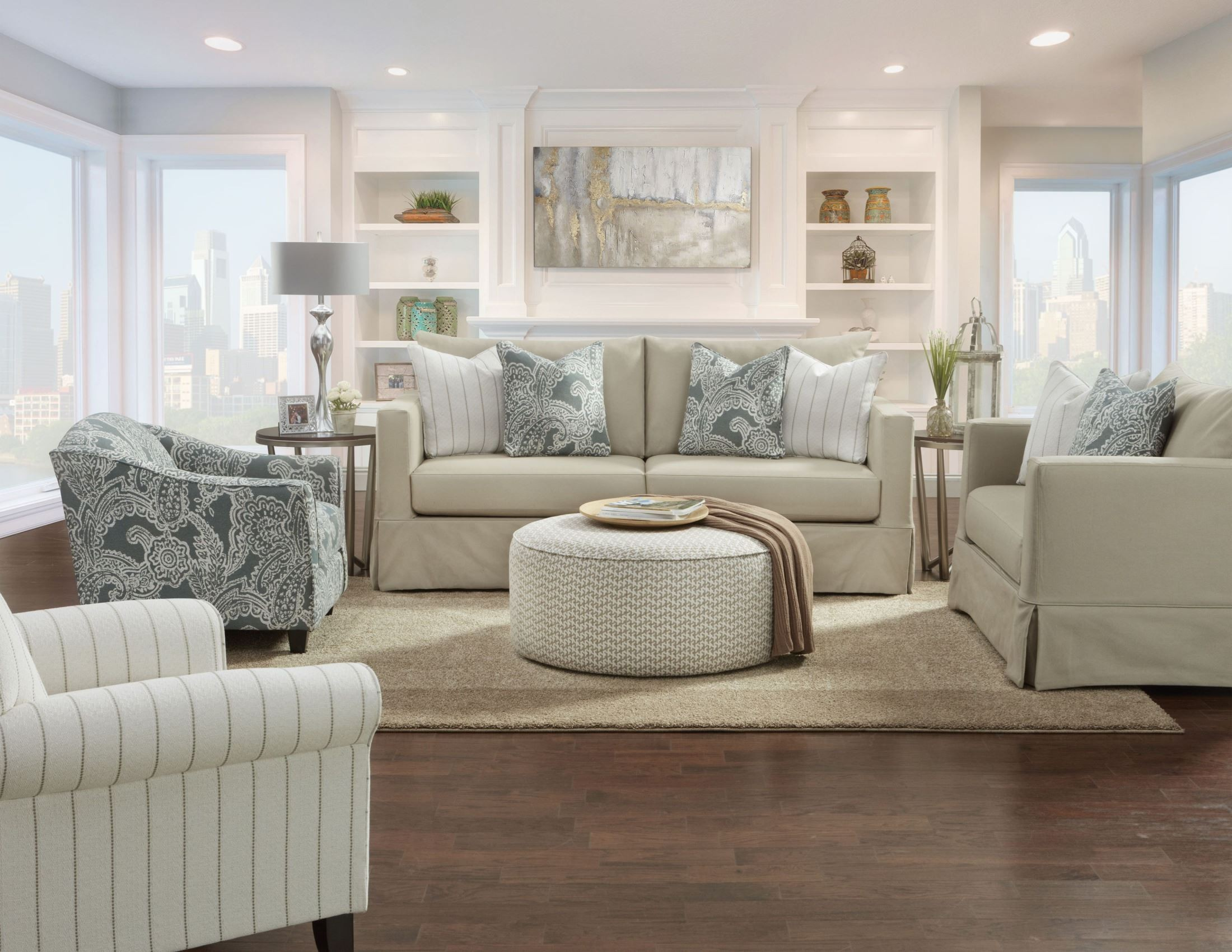 Toni Sand Sand Grande Linen Slip Cover Living Room Set