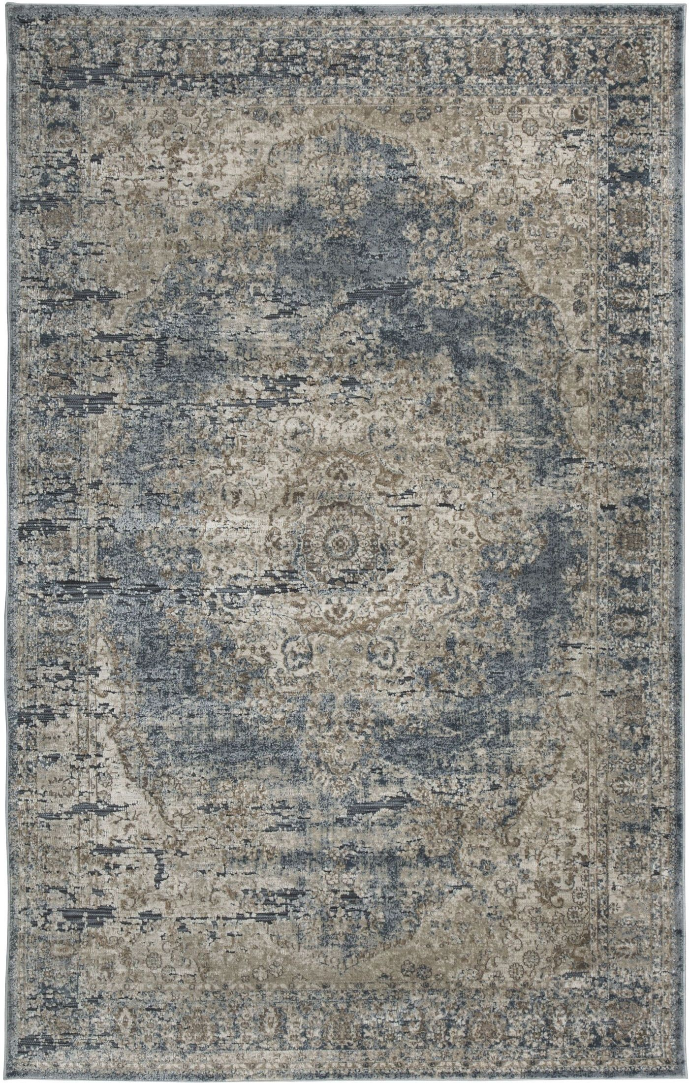 South Blue And Tan Large Rug From Ashley Coleman Furniture