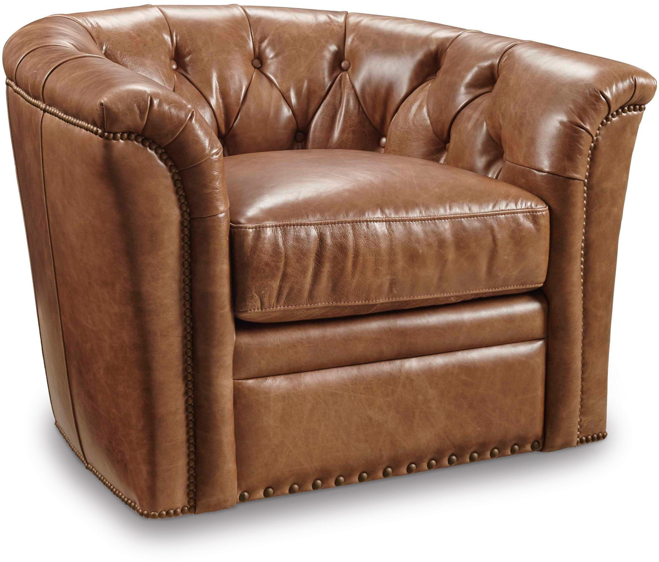Ripley Brown Swivel Leather Club Chair