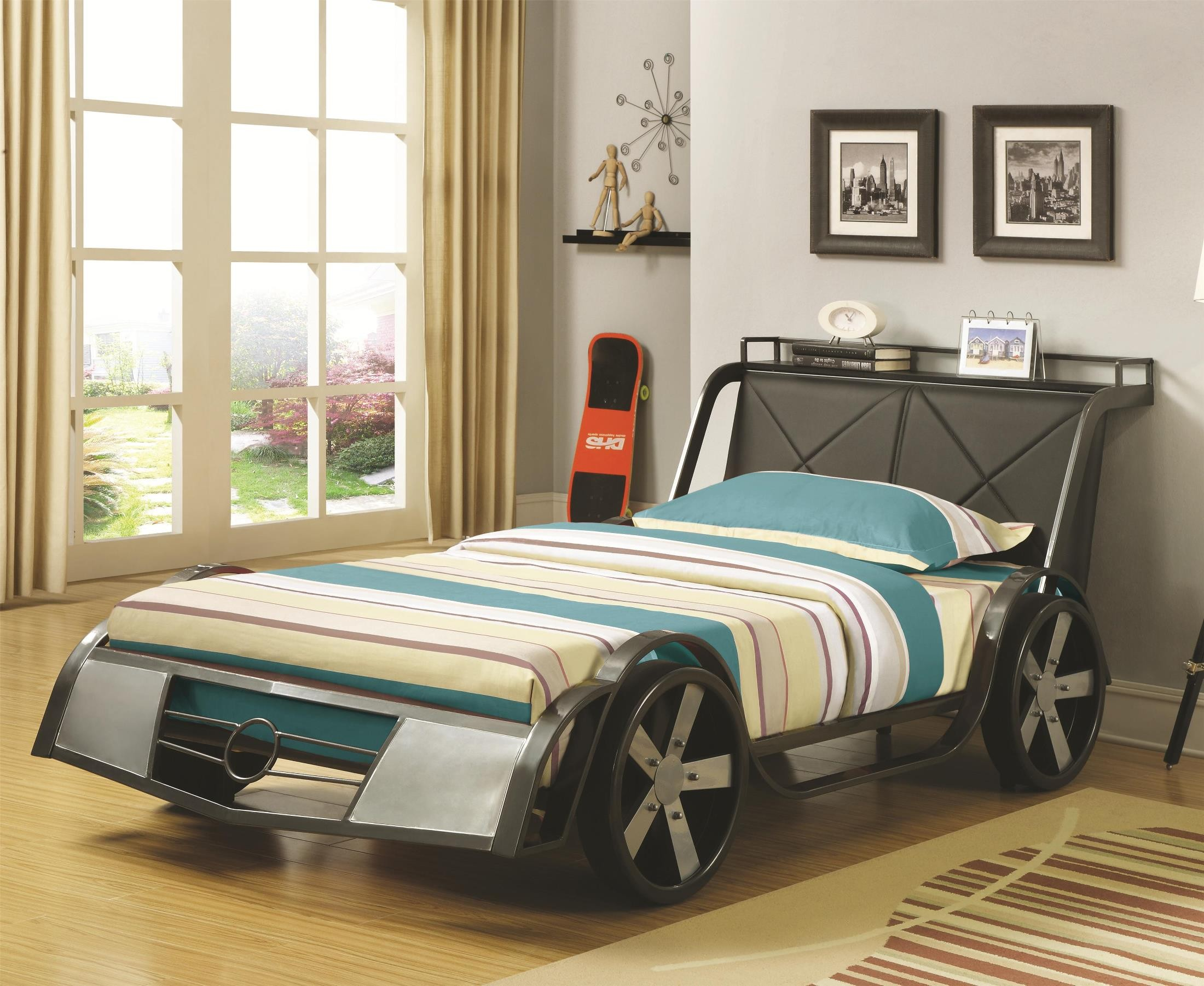Race Car Twin Bed: Race Car Wood Veneers Twin Metal Bed From Coaster (400701