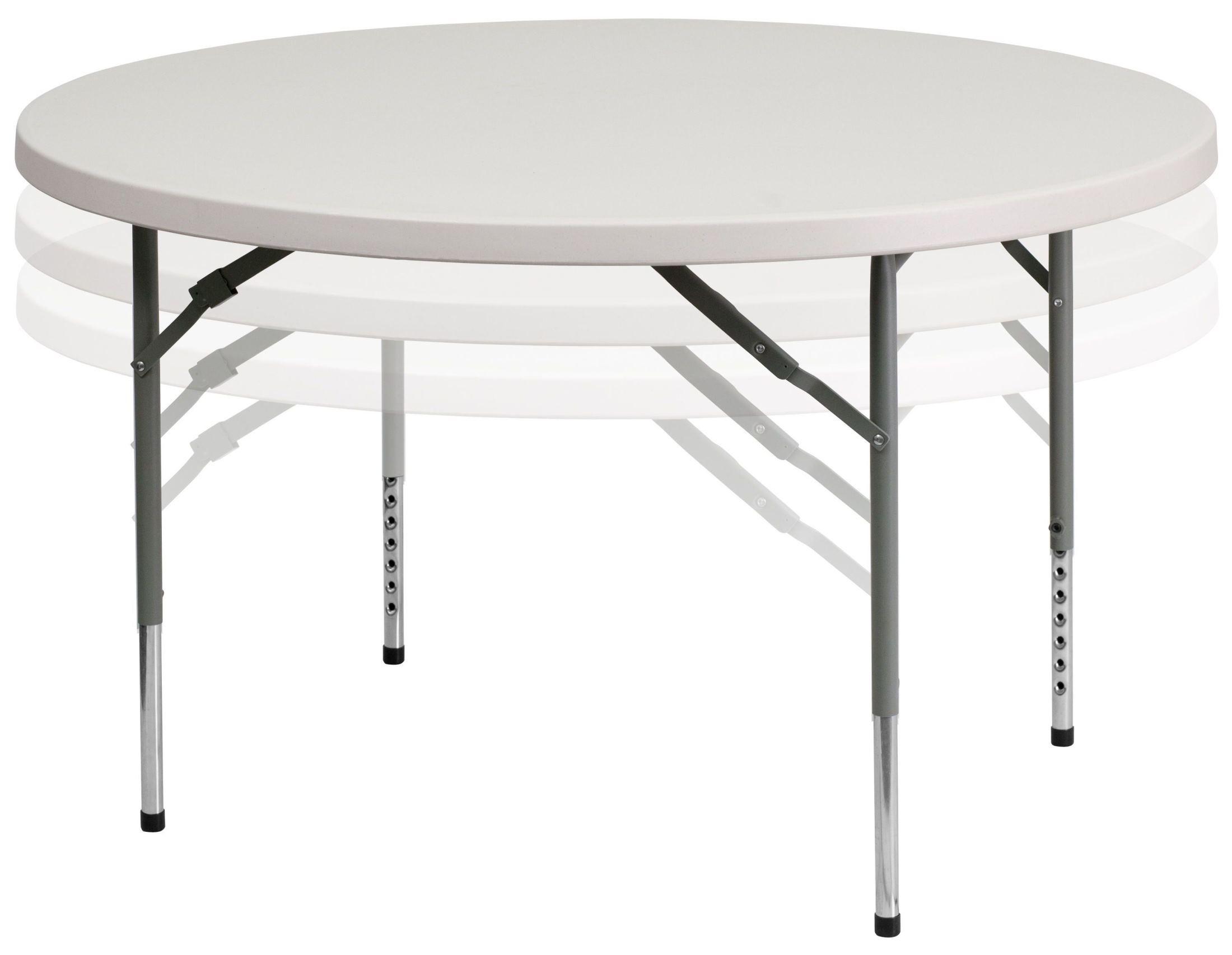 48 Quot Round Height Adjustable Granite White Plastic Folding