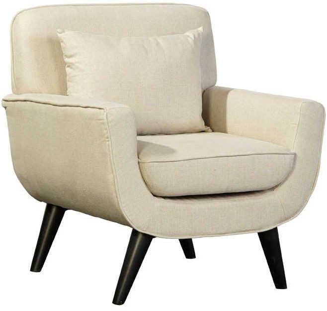 Mid Century Modern White Linen Chair From Furniture