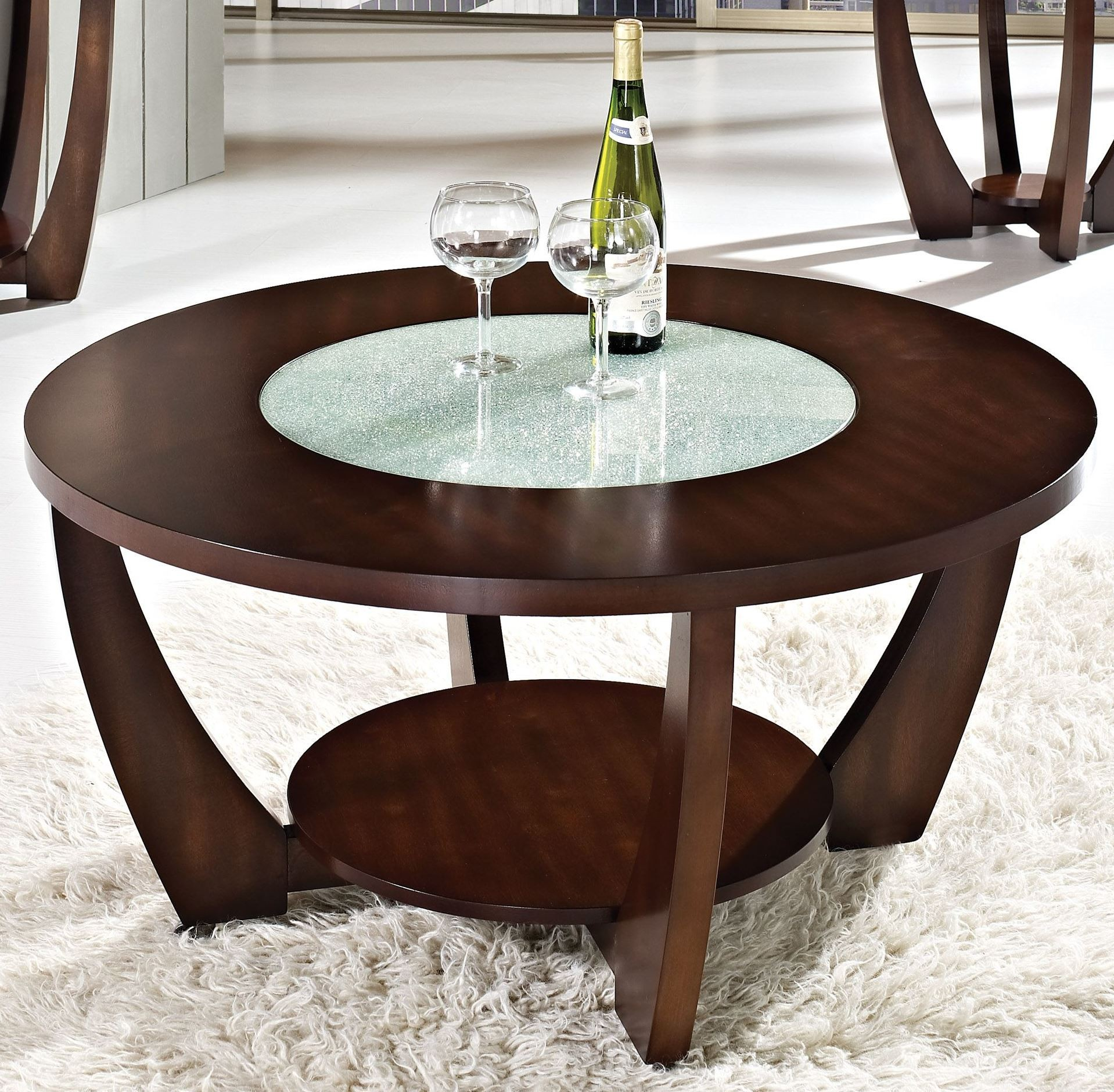 Rafael Merlot Cherry Cocktail Table With Casters From