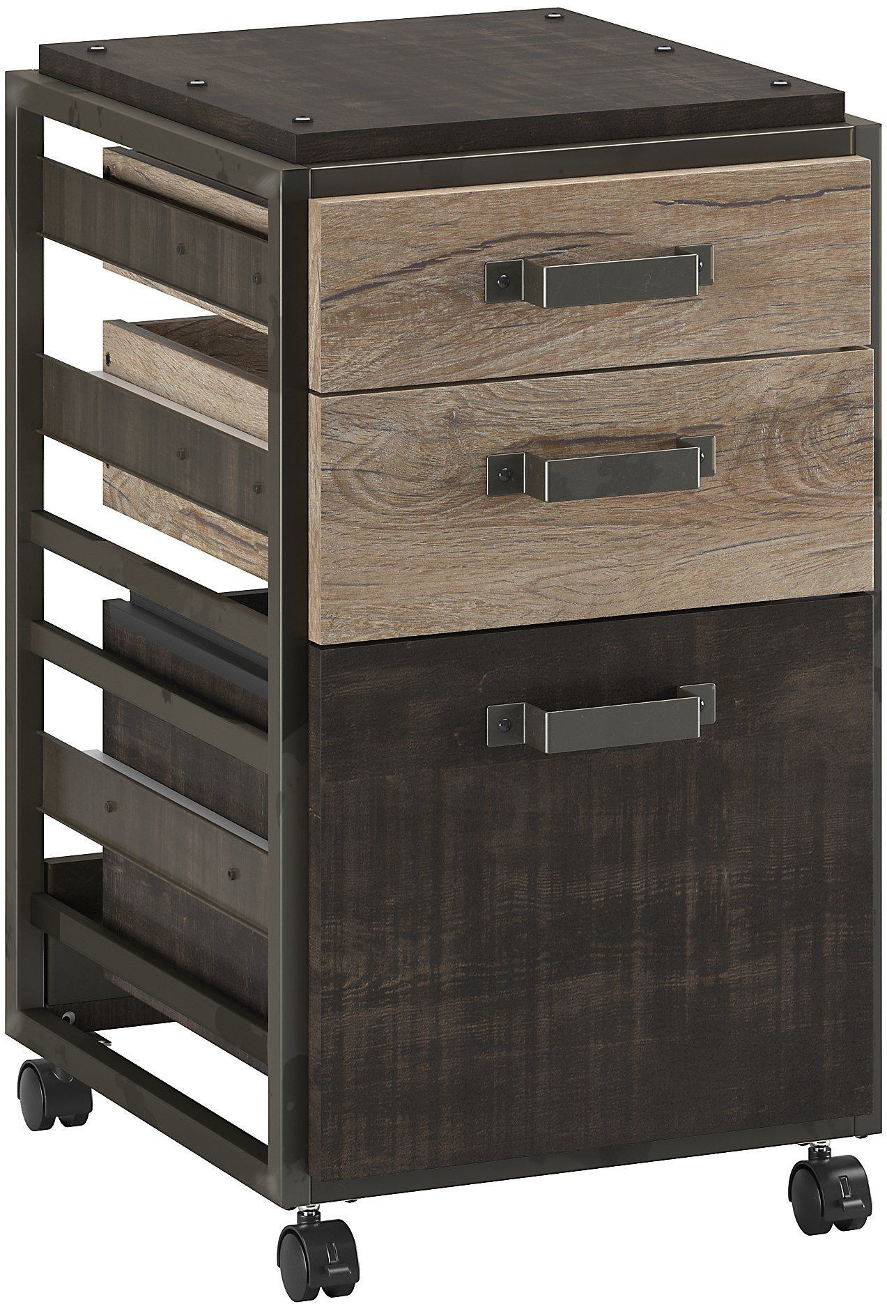 Refinery rustic gray 3 drawer mobile file cabinet from for Mobile furniture