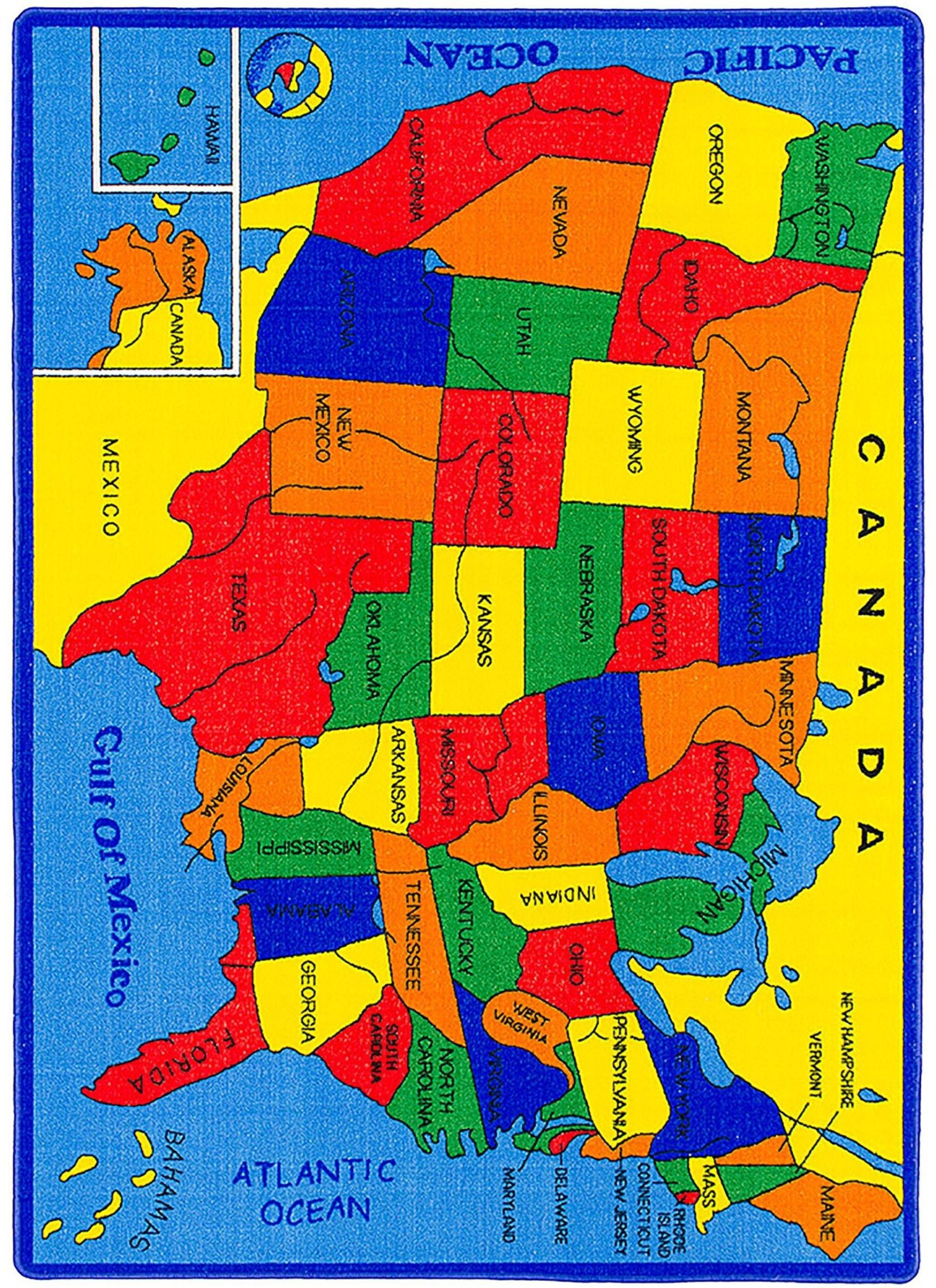 Abbey United States Map Small Area Rug From Furniture Of