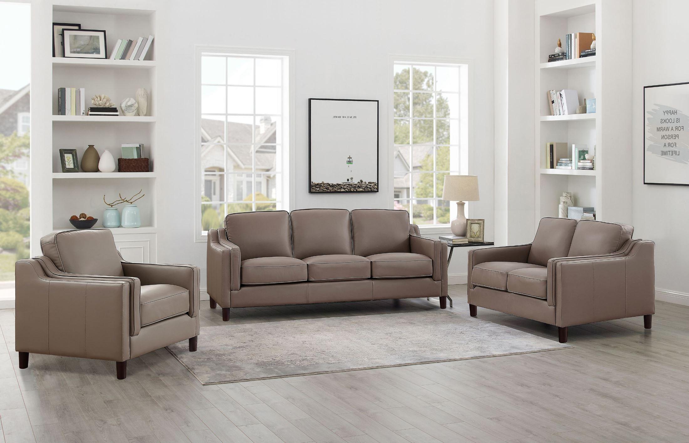 hydeline richard taupe top grain leather living room set