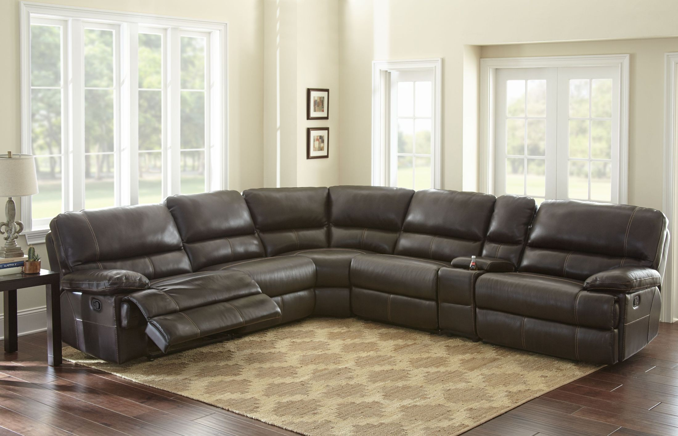 Rollins Deep Tobacco Leather Reclining Large Sectional ...